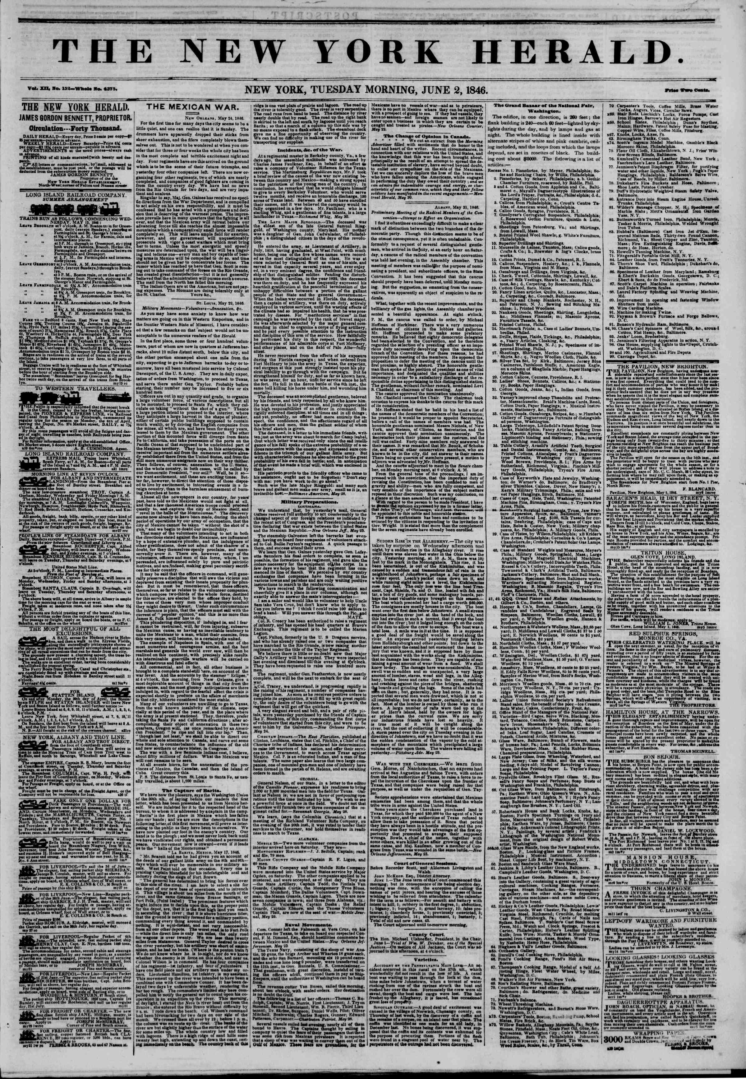 Newspaper of The New York Herald dated June 2, 1846 Page 1