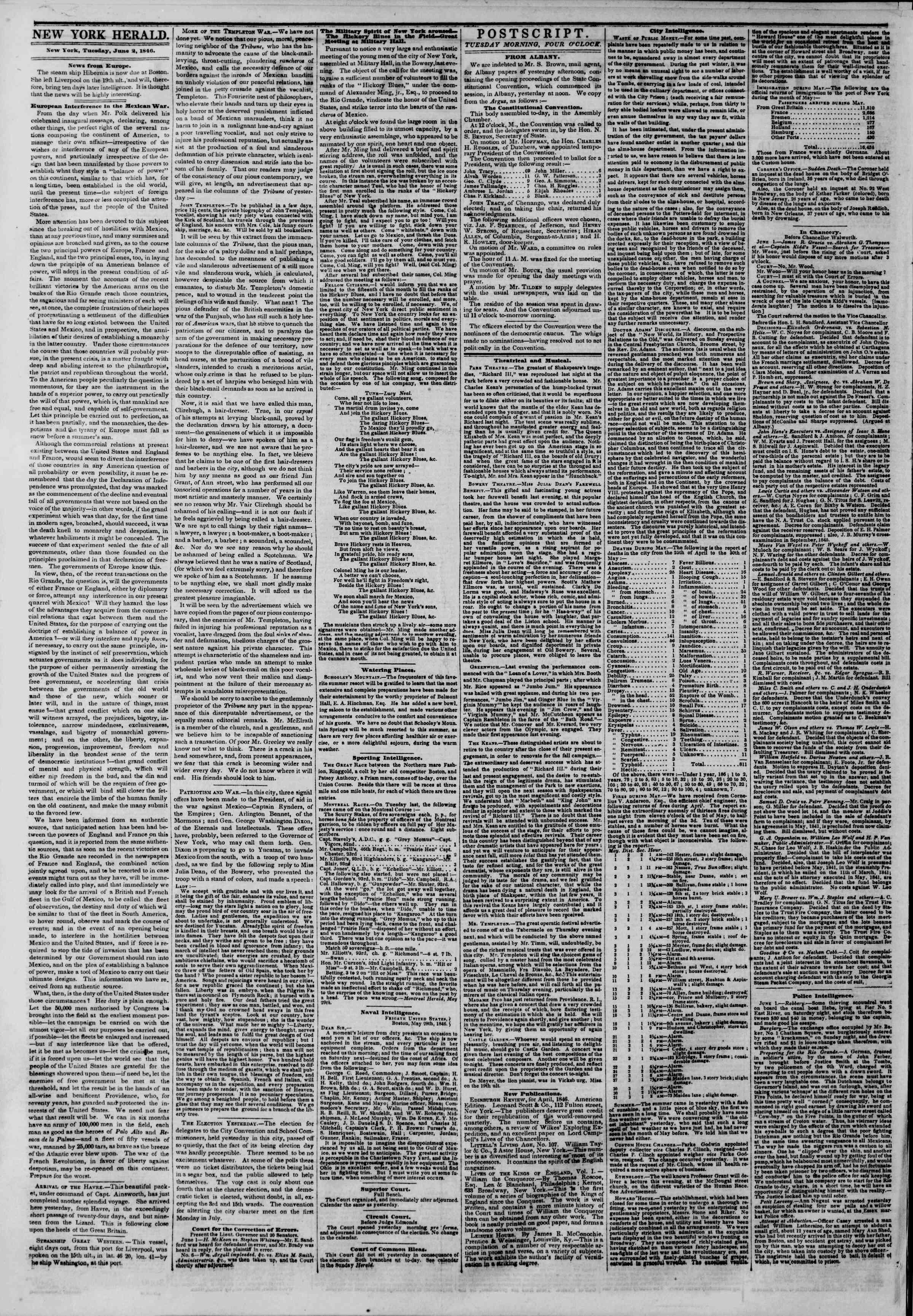 Newspaper of The New York Herald dated June 2, 1846 Page 2