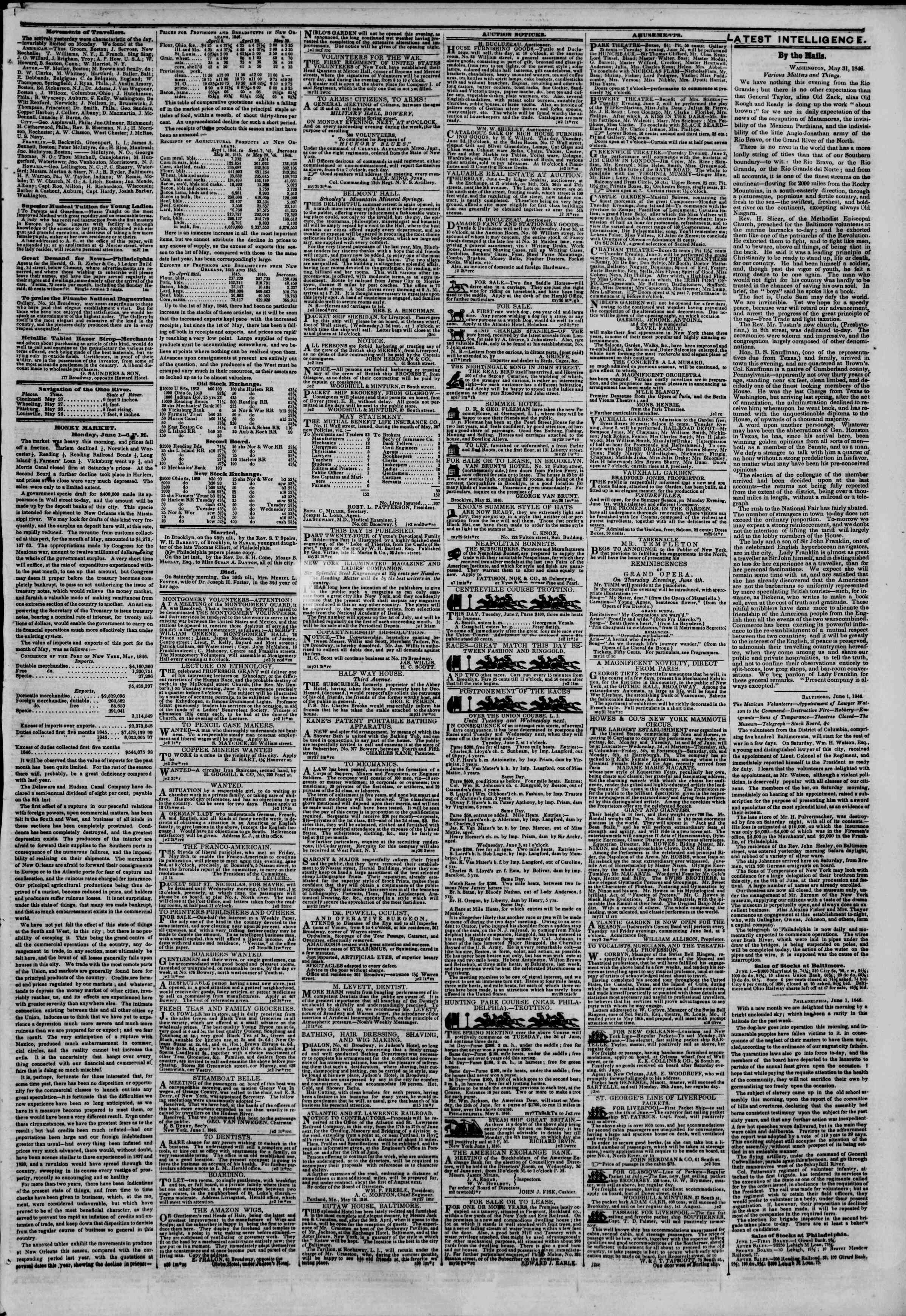 Newspaper of The New York Herald dated June 2, 1846 Page 3