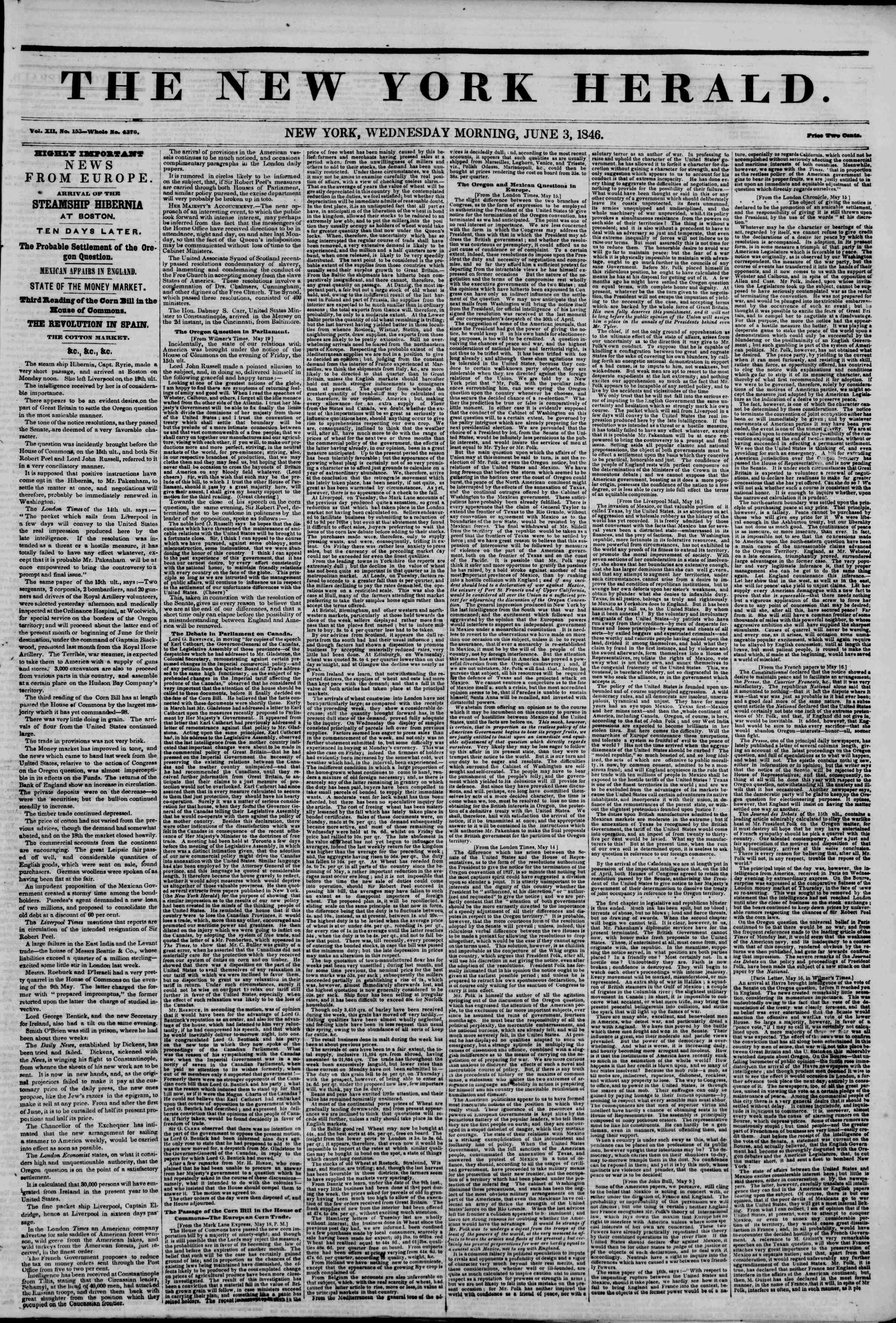 Newspaper of The New York Herald dated June 3, 1846 Page 1
