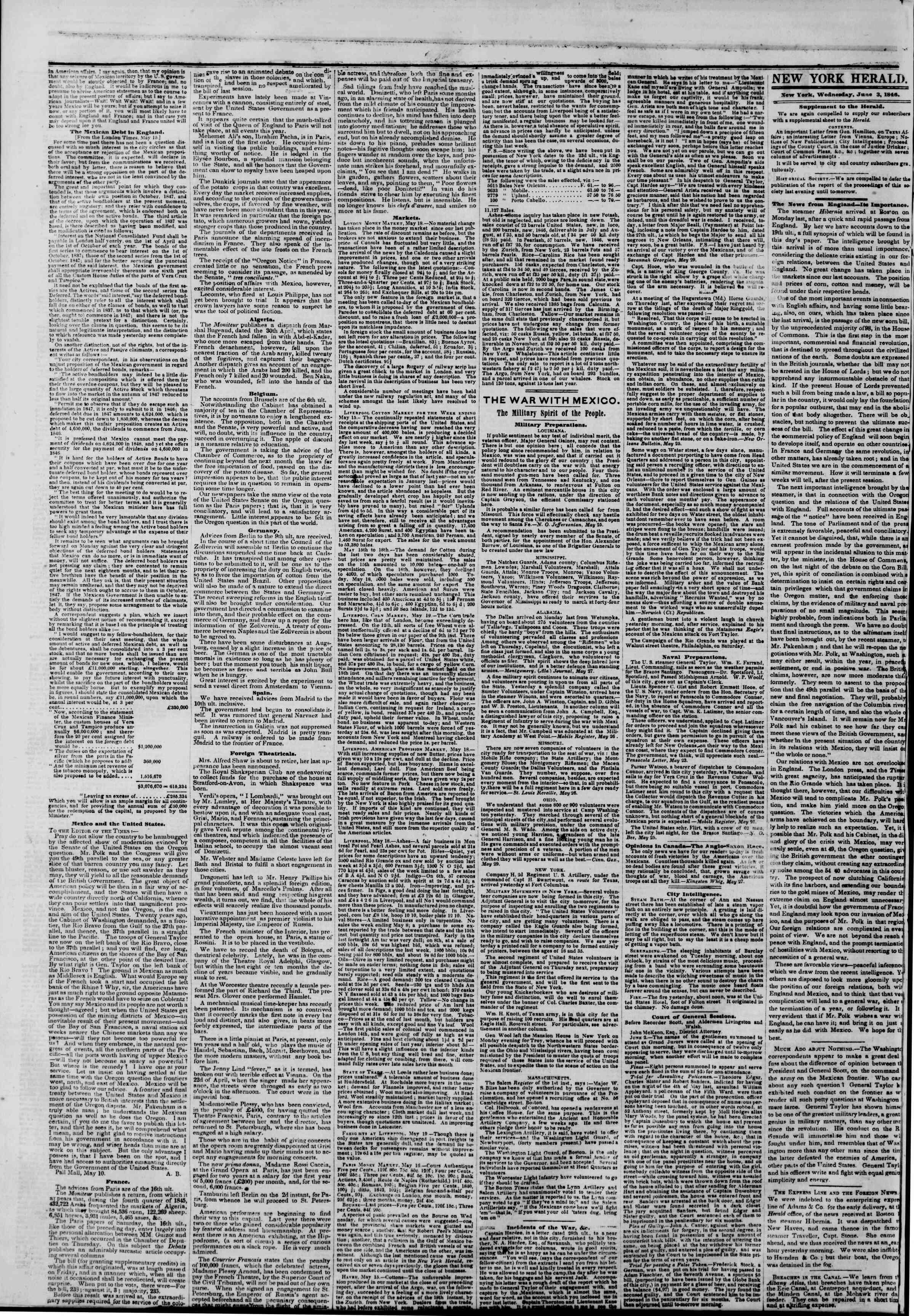 3 Haziran 1846 tarihli The New York Herald Gazetesi Sayfa 2
