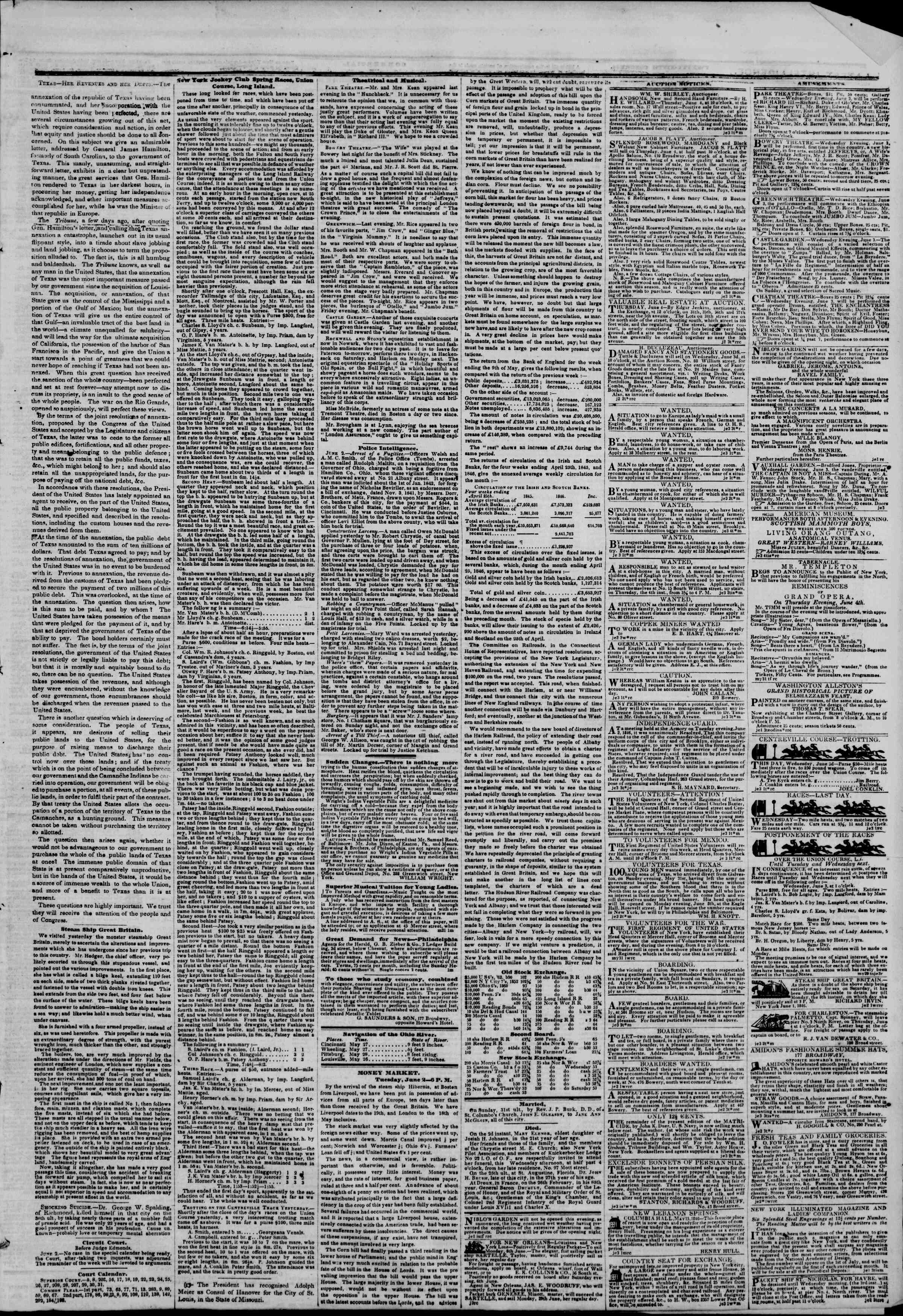 Newspaper of The New York Herald dated June 3, 1846 Page 3