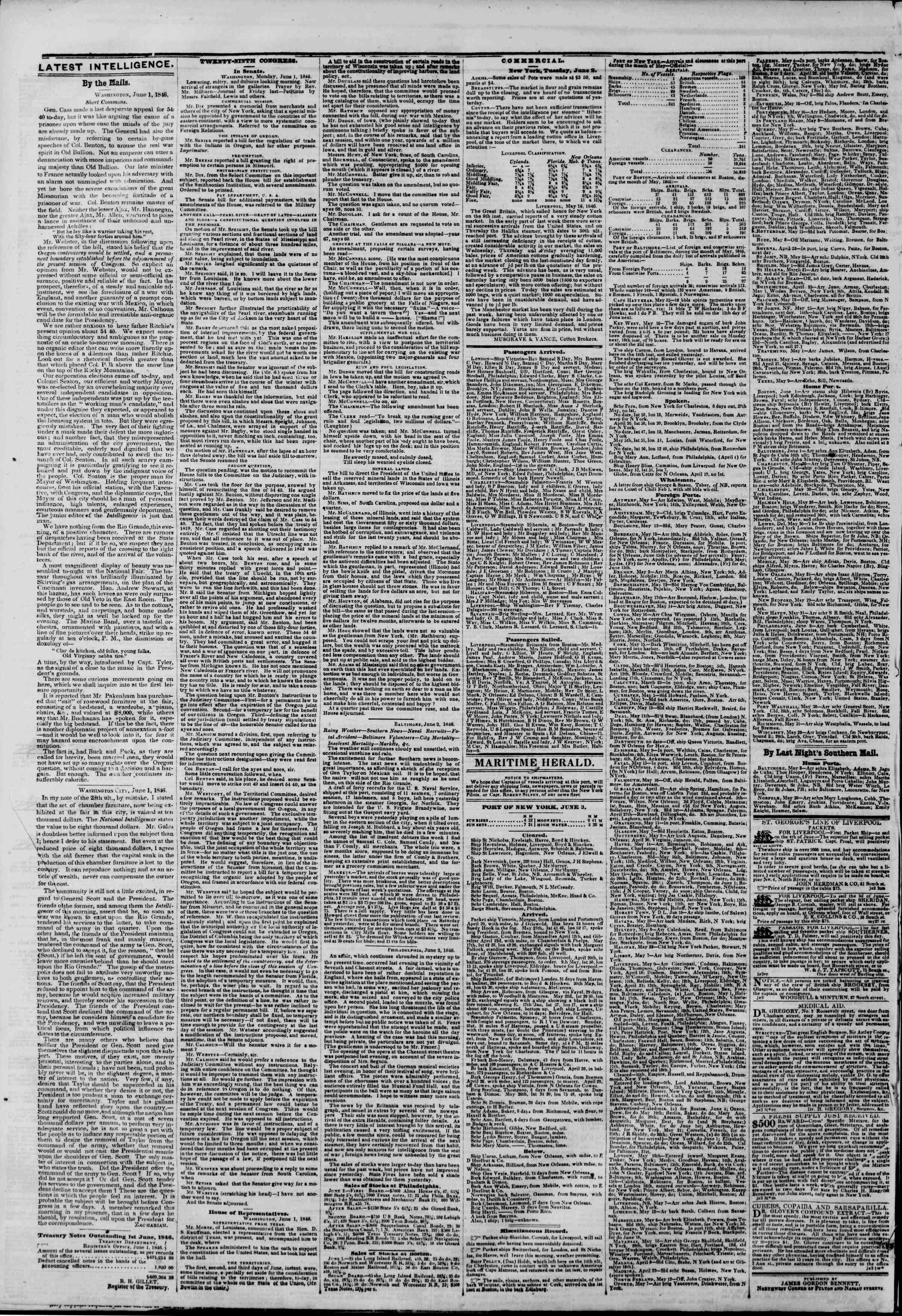 3 Haziran 1846 tarihli The New York Herald Gazetesi Sayfa 4