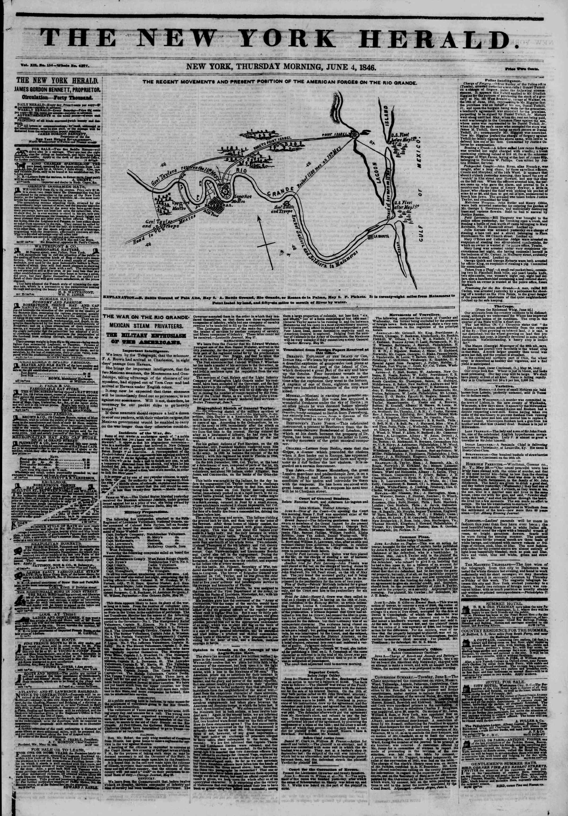 Newspaper of The New York Herald dated June 4, 1846 Page 1