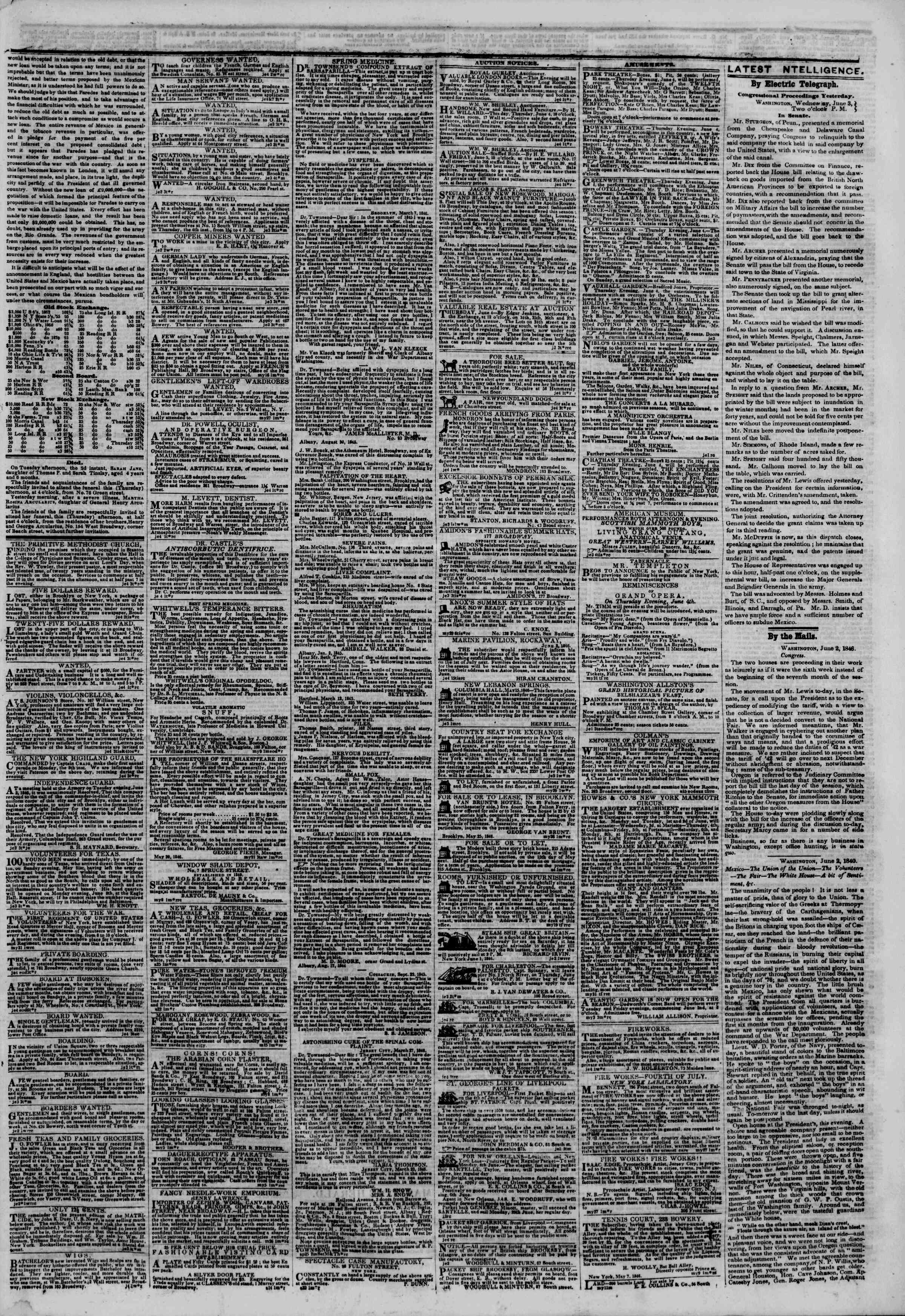Newspaper of The New York Herald dated June 4, 1846 Page 3