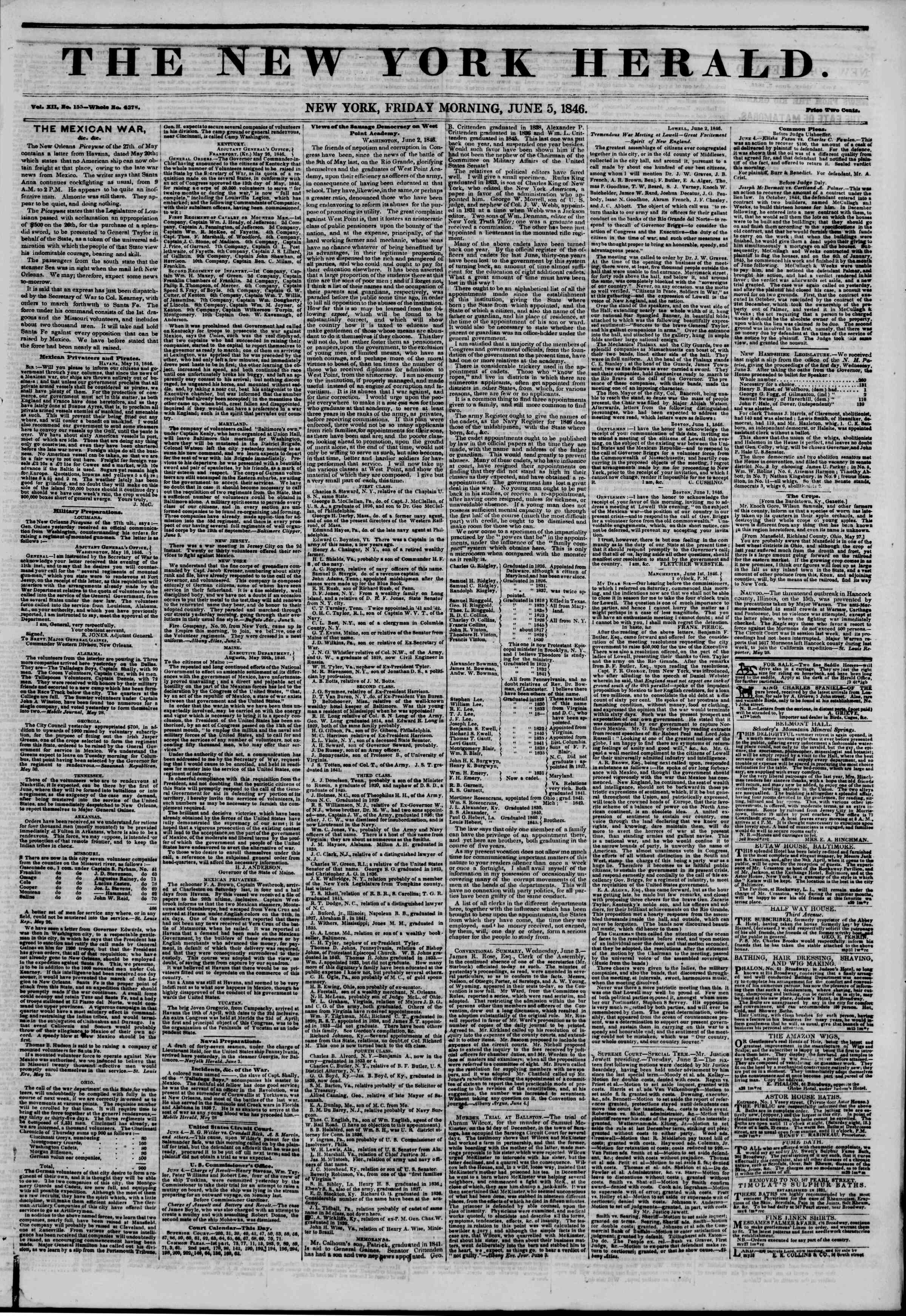 Newspaper of The New York Herald dated June 5, 1846 Page 1