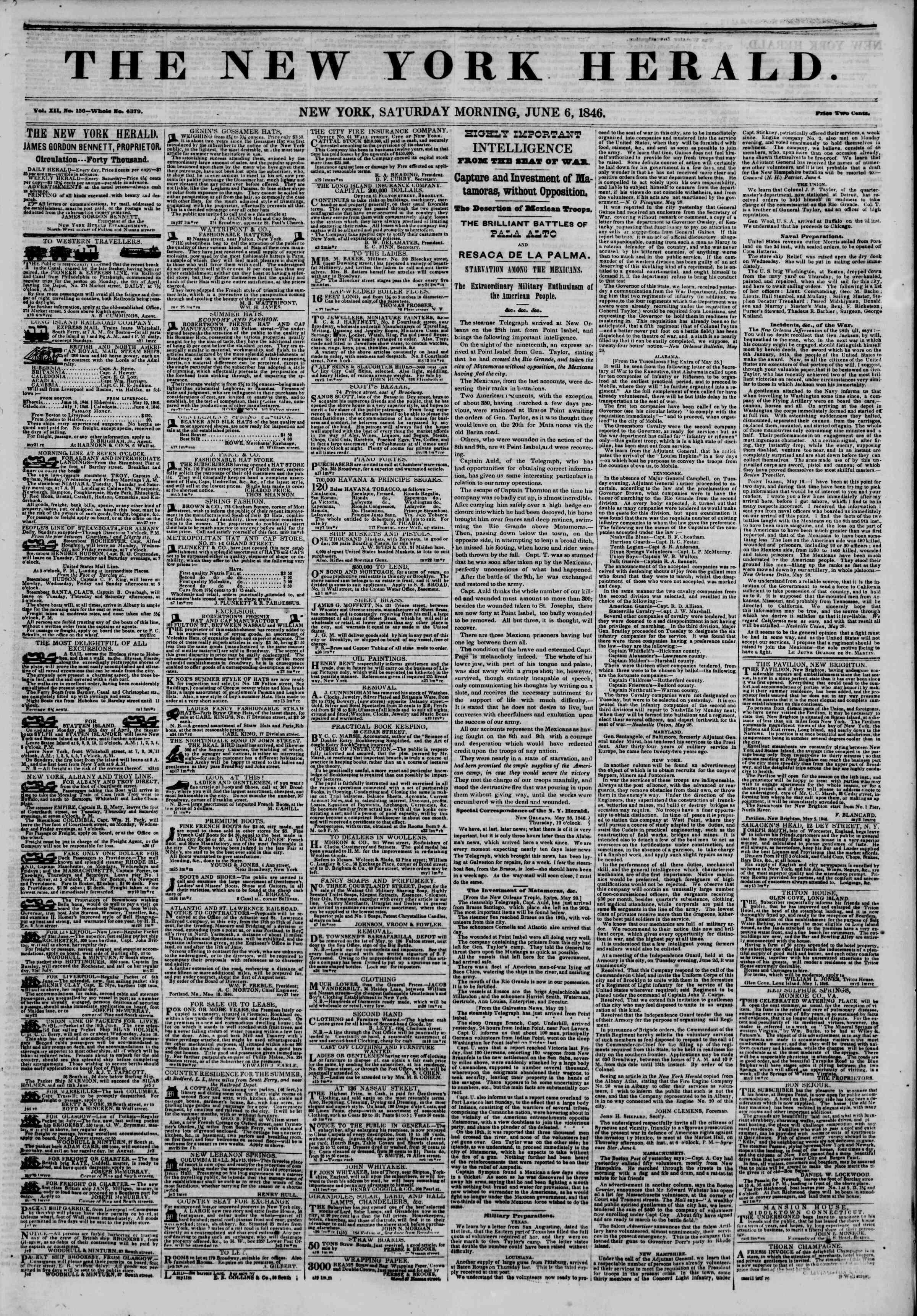 Newspaper of The New York Herald dated 6 Haziran 1846 Page 1
