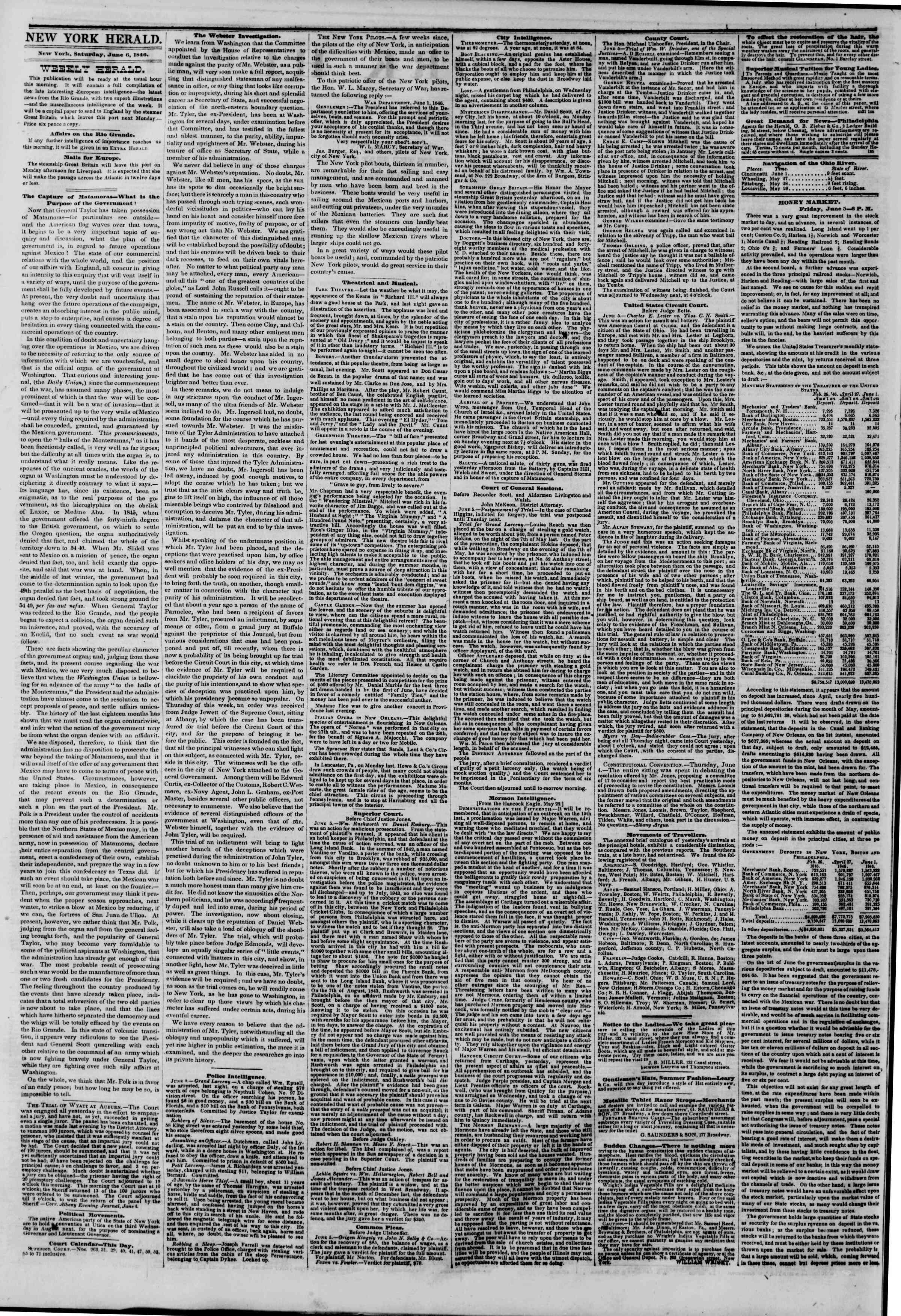 Newspaper of The New York Herald dated June 6, 1846 Page 2
