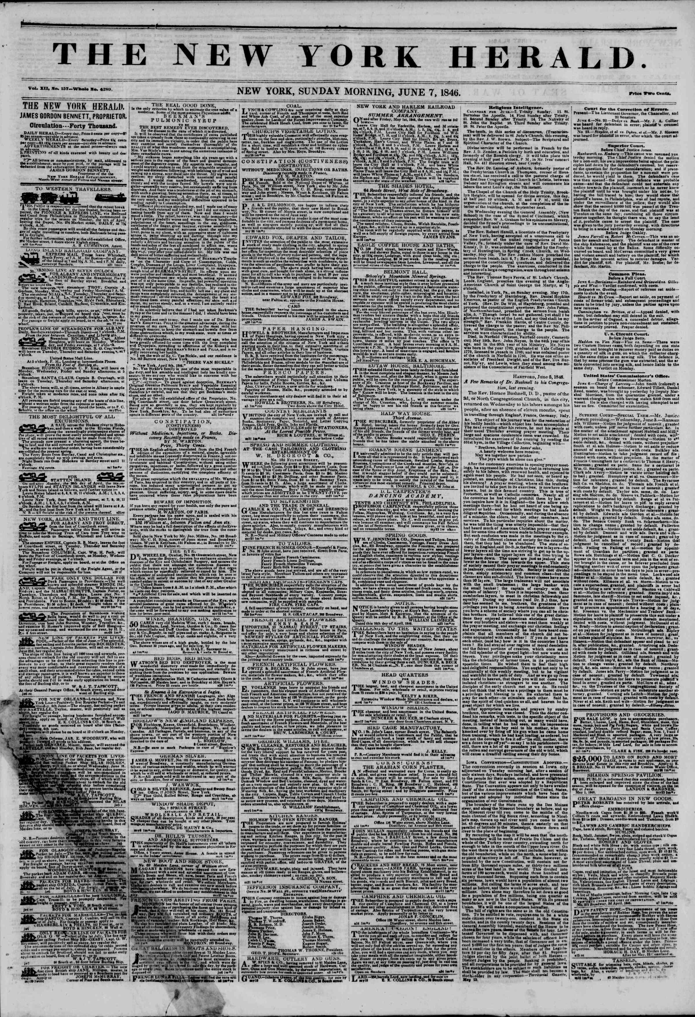 Newspaper of The New York Herald dated June 7, 1846 Page 1