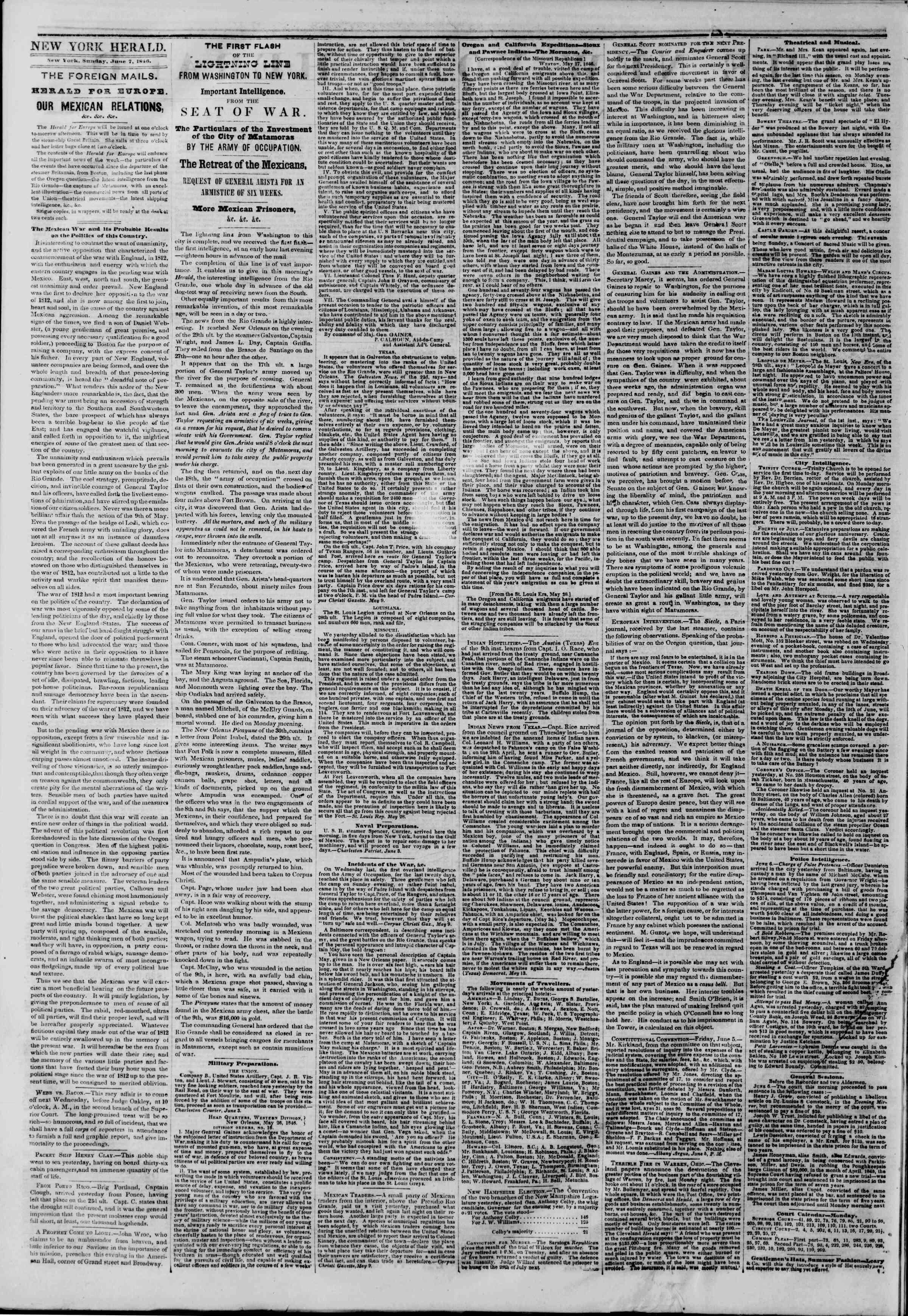 Newspaper of The New York Herald dated June 7, 1846 Page 2