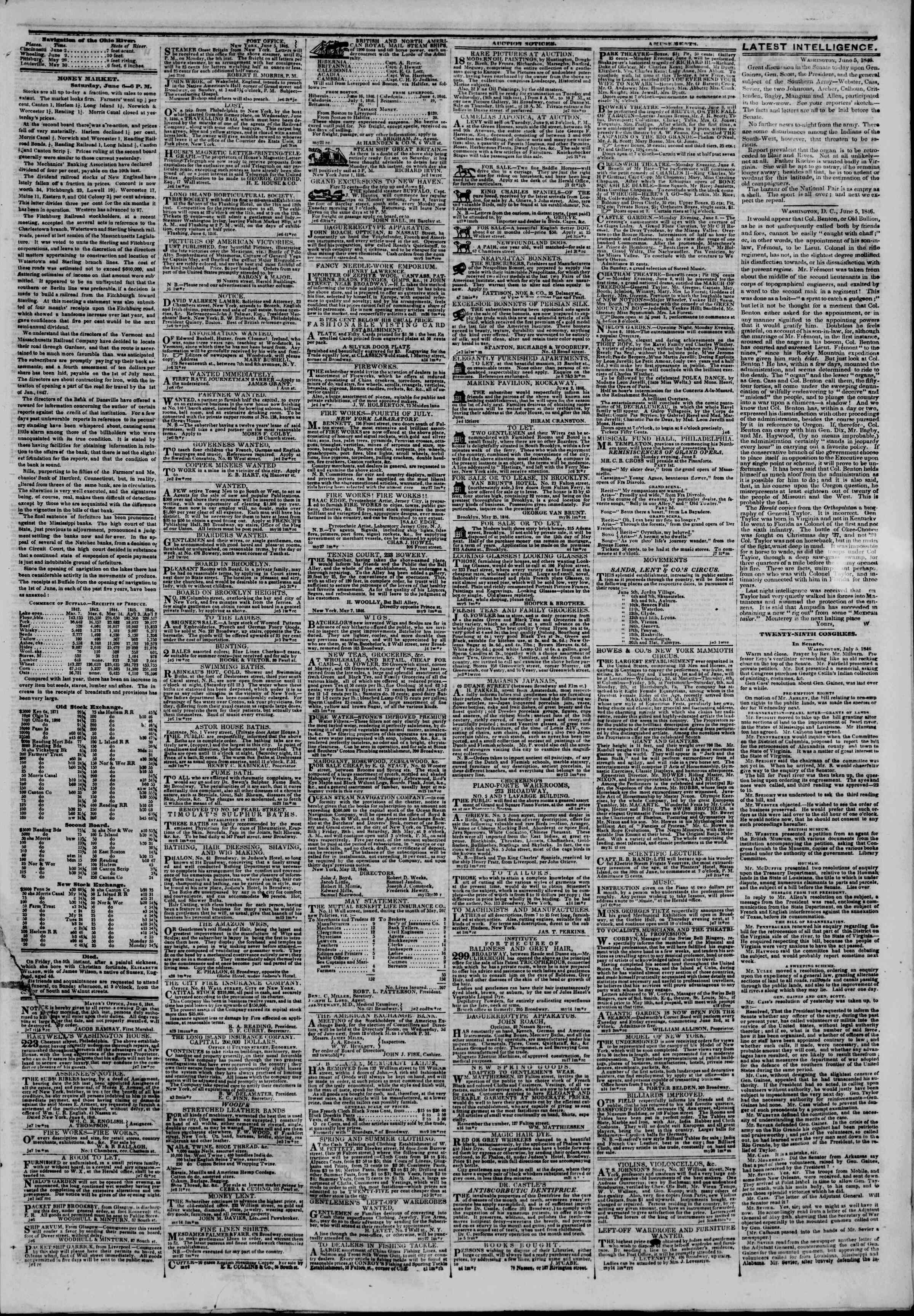 Newspaper of The New York Herald dated June 7, 1846 Page 3