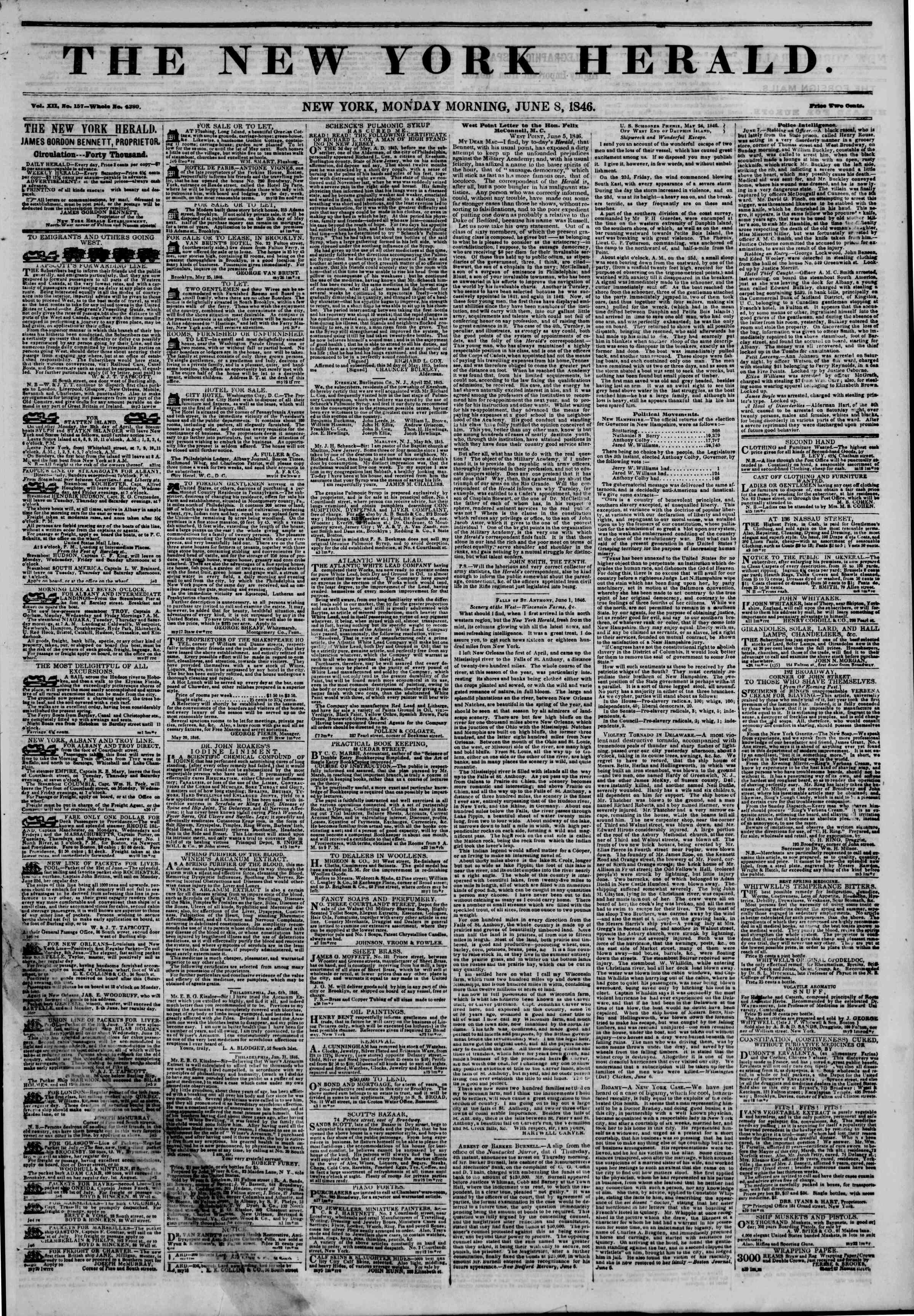 Newspaper of The New York Herald dated 8 Haziran 1846 Page 1