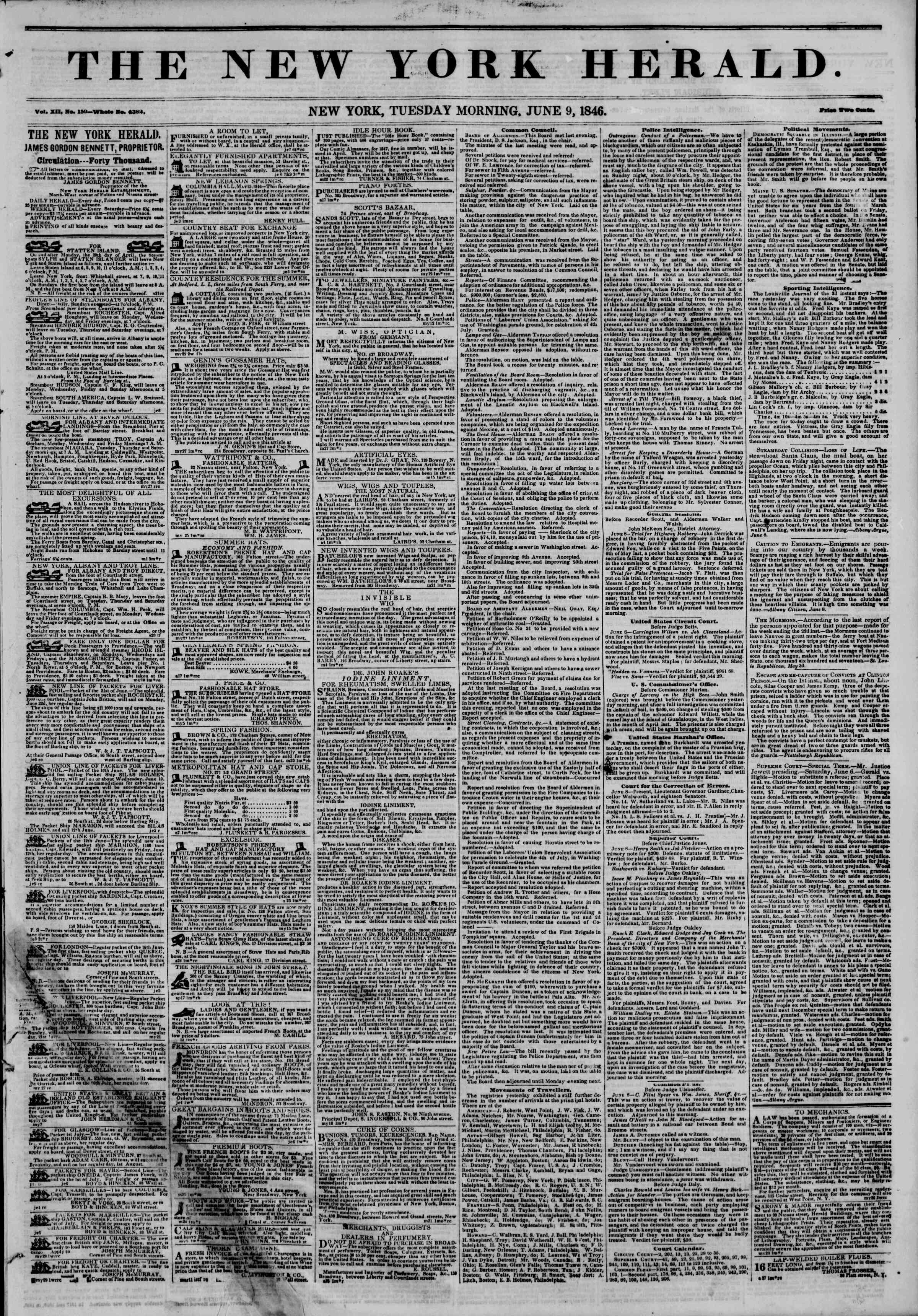 Newspaper of The New York Herald dated June 9, 1846 Page 1