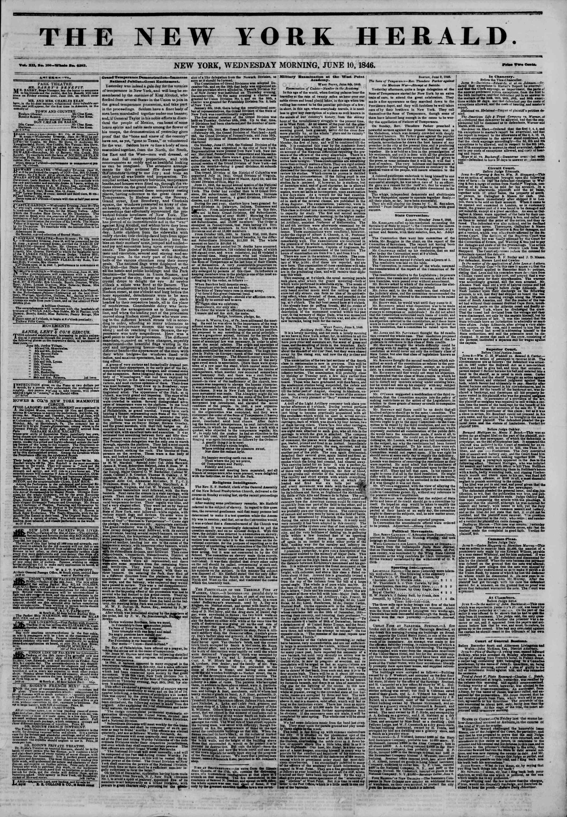 Newspaper of The New York Herald dated June 10, 1846 Page 1