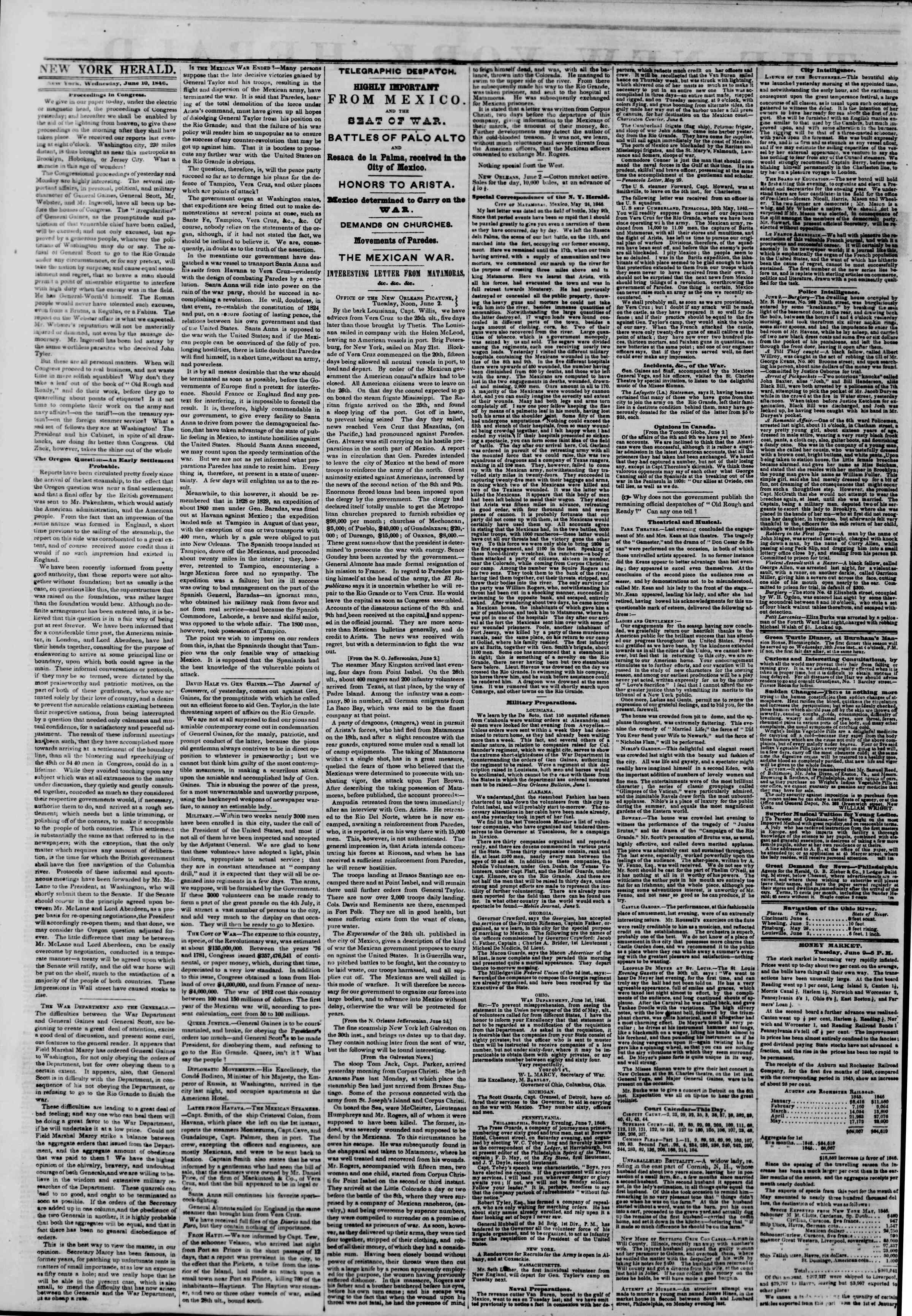 Newspaper of The New York Herald dated June 10, 1846 Page 2