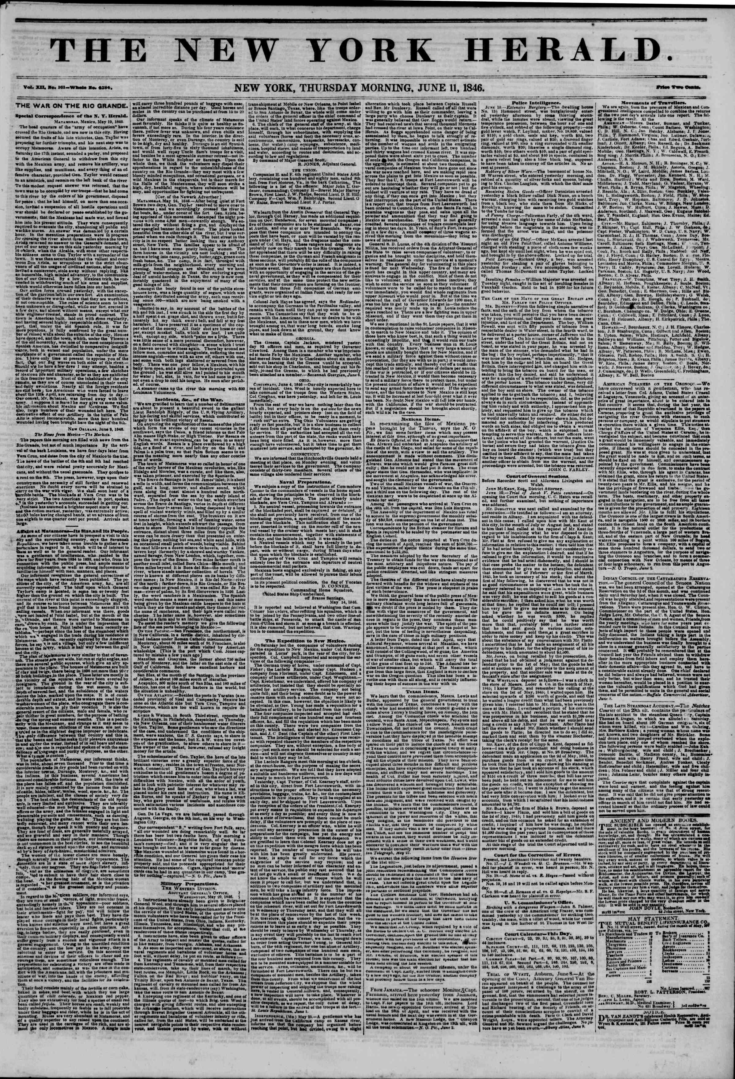 Newspaper of The New York Herald dated June 11, 1846 Page 1