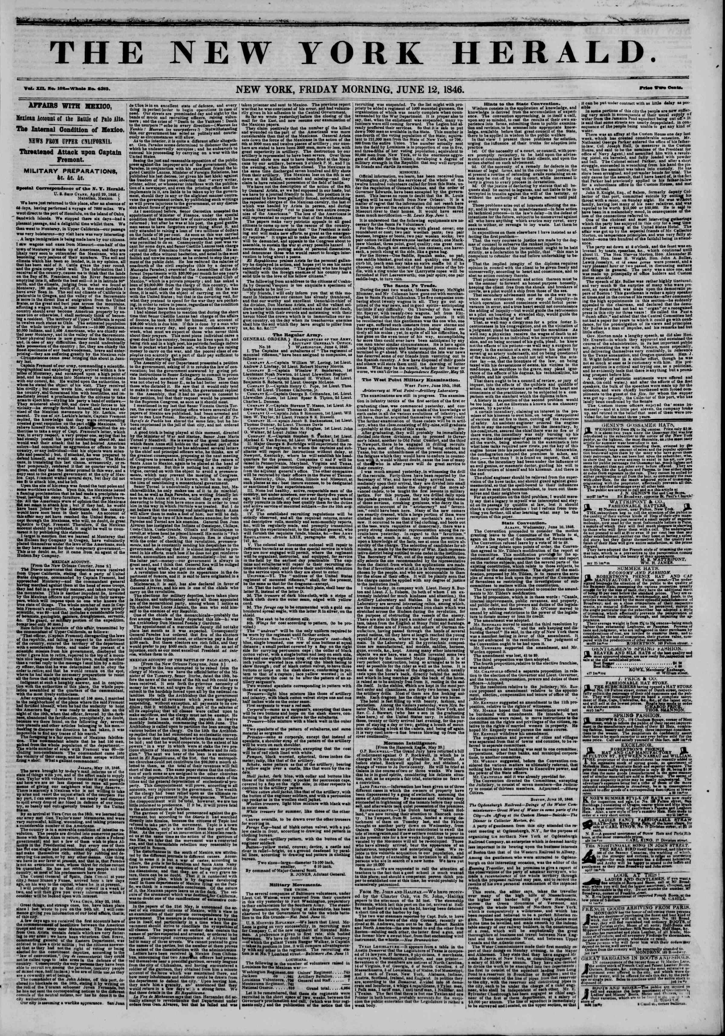 Newspaper of The New York Herald dated June 12, 1846 Page 1