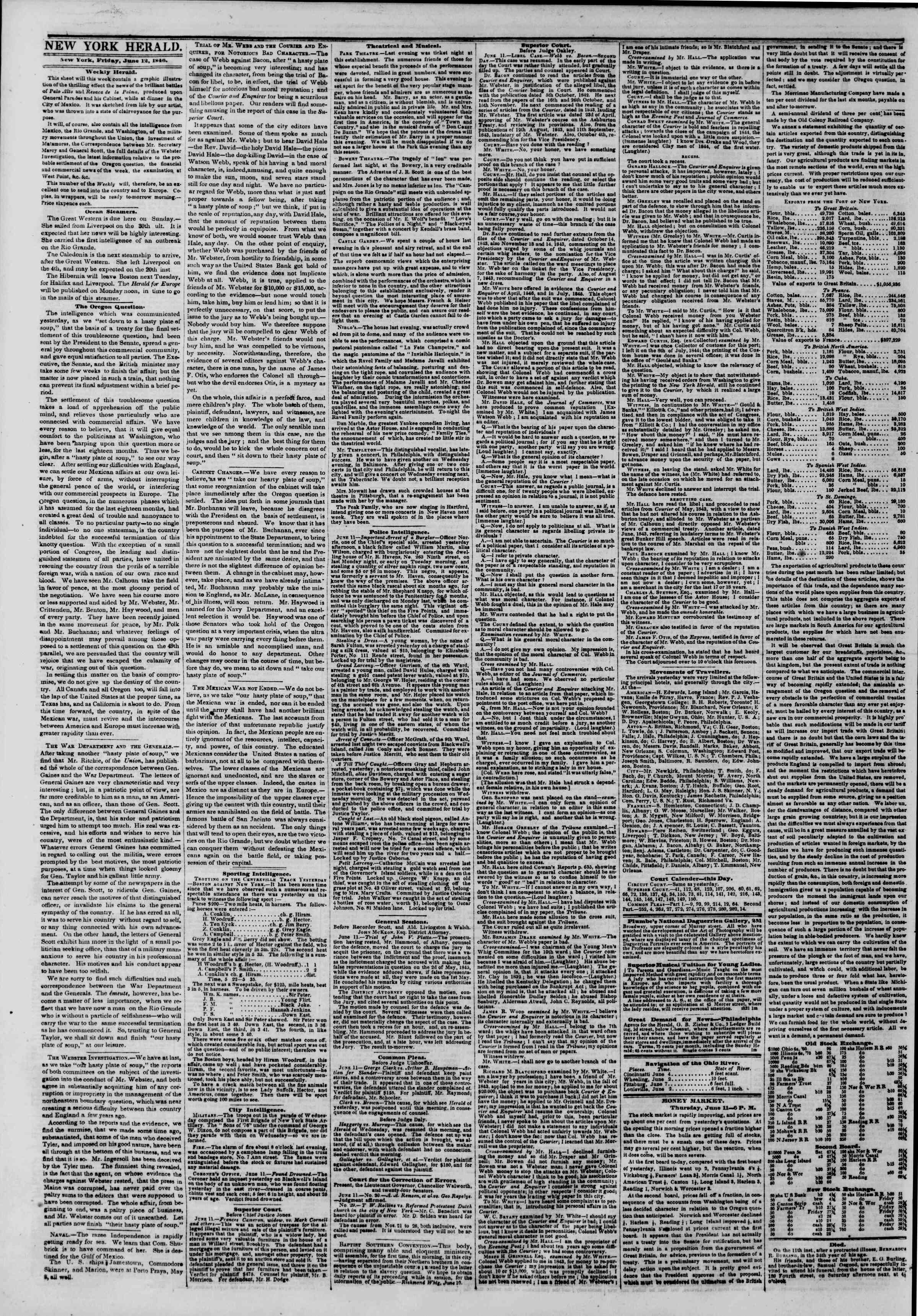 Newspaper of The New York Herald dated June 12, 1846 Page 2