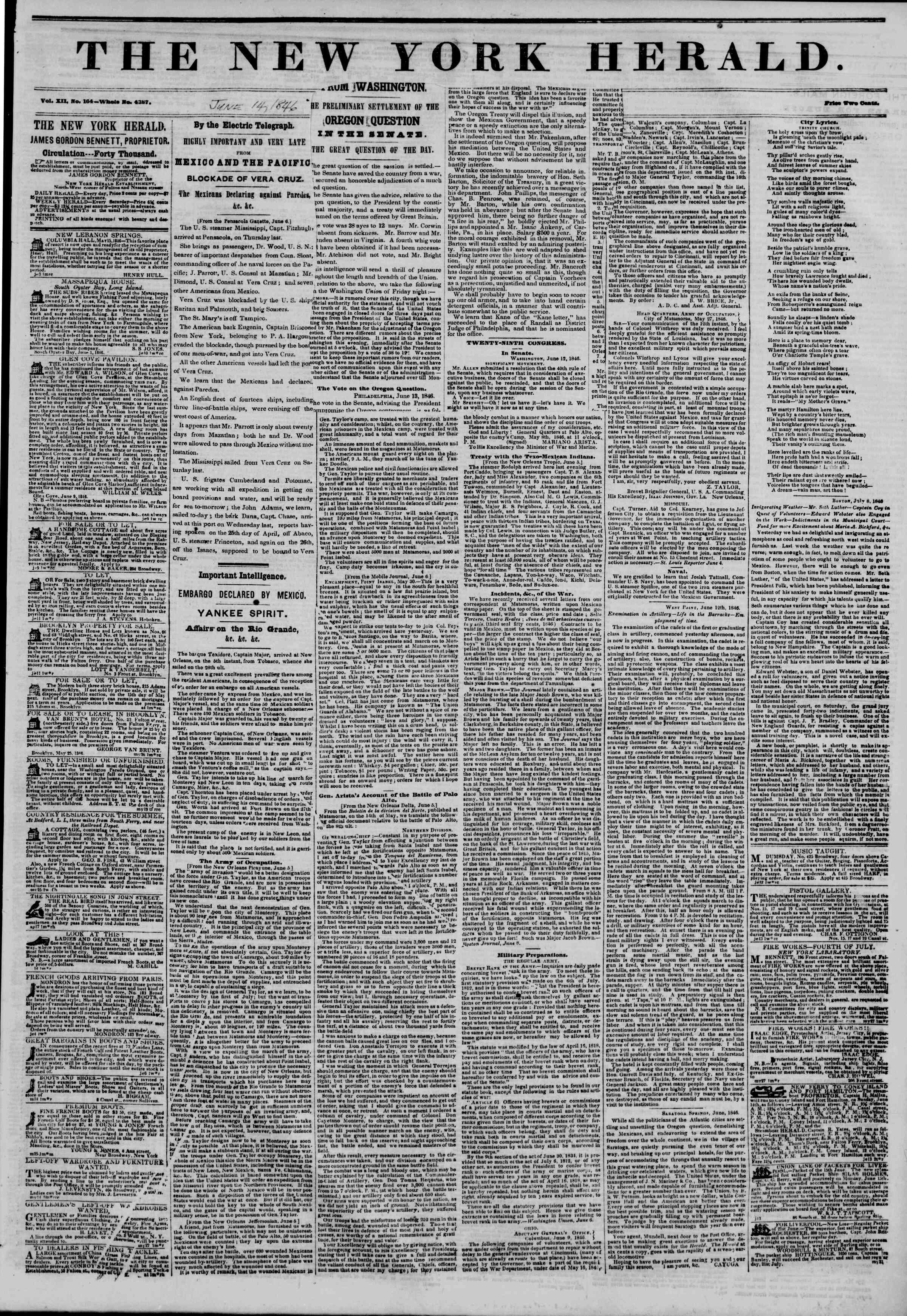 Newspaper of The New York Herald dated June 14, 1846 Page 1