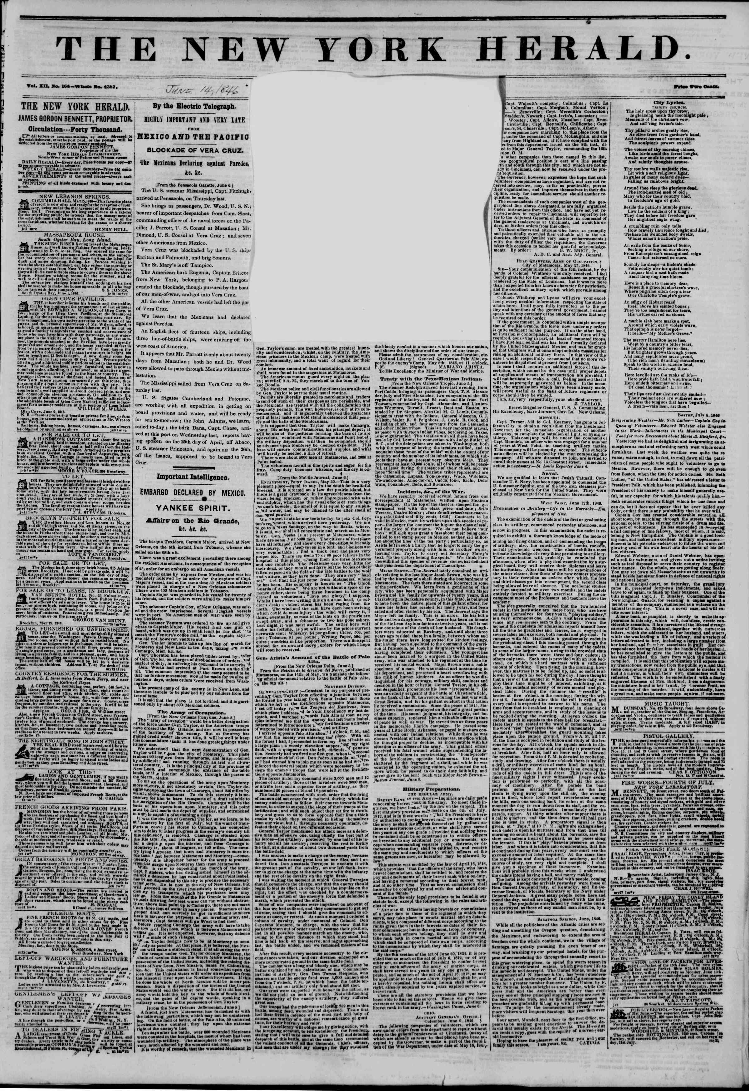 Newspaper of The New York Herald dated June 14, 1846 Page 2