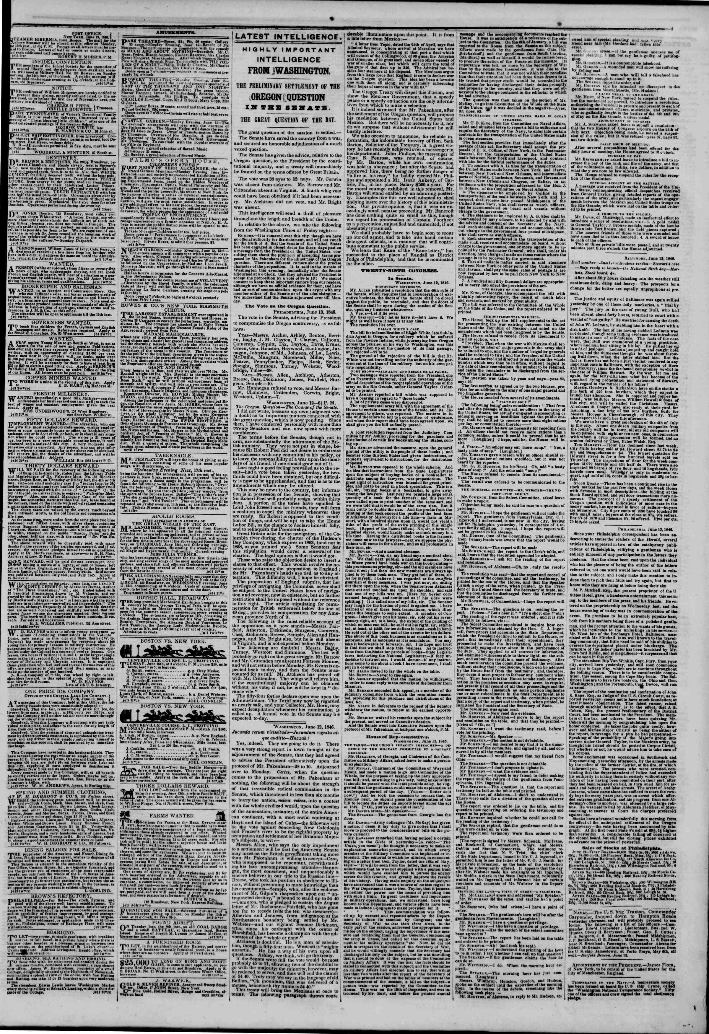 Newspaper of The New York Herald dated June 14, 1846 Page 4
