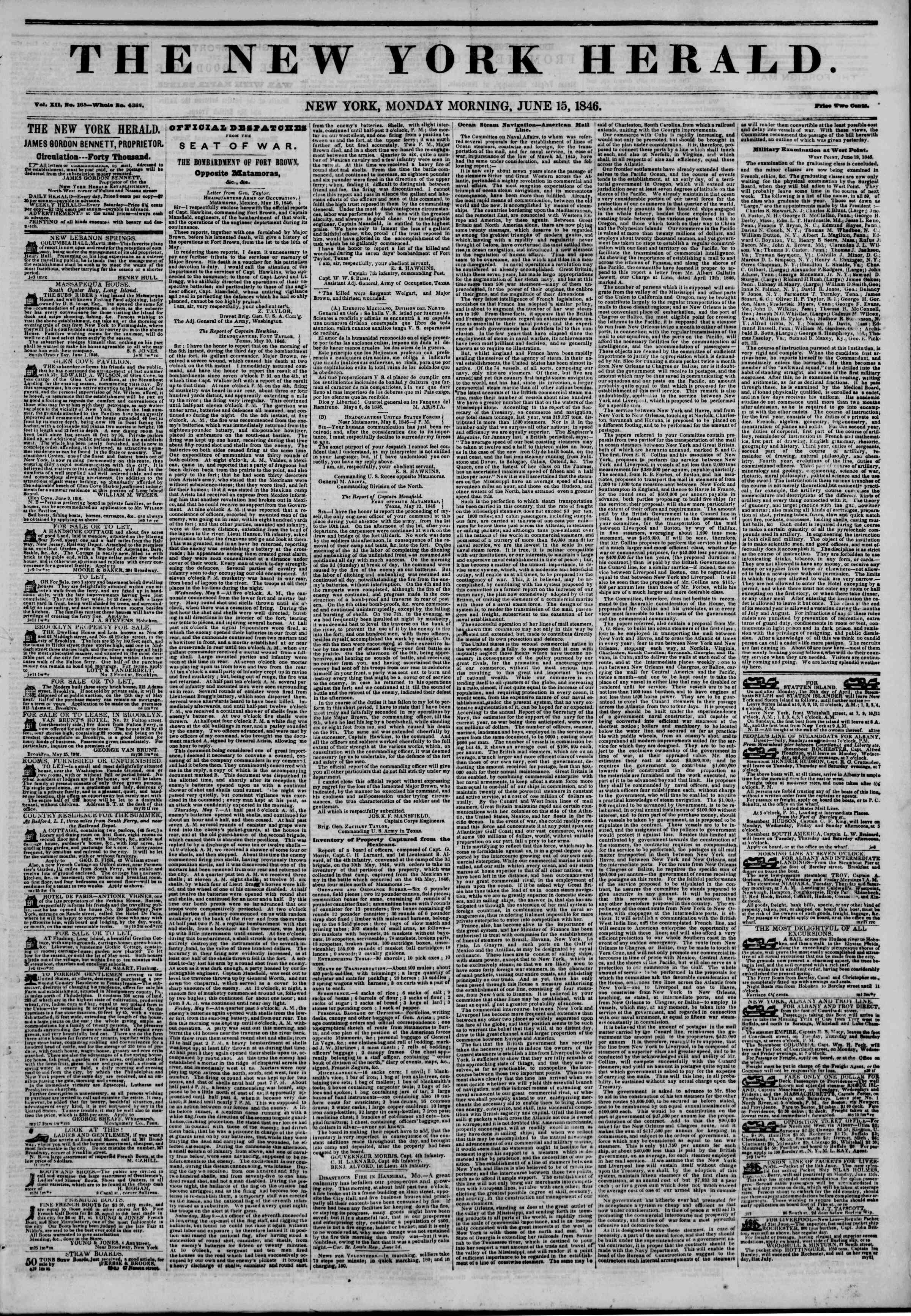 Newspaper of The New York Herald dated June 15, 1846 Page 1