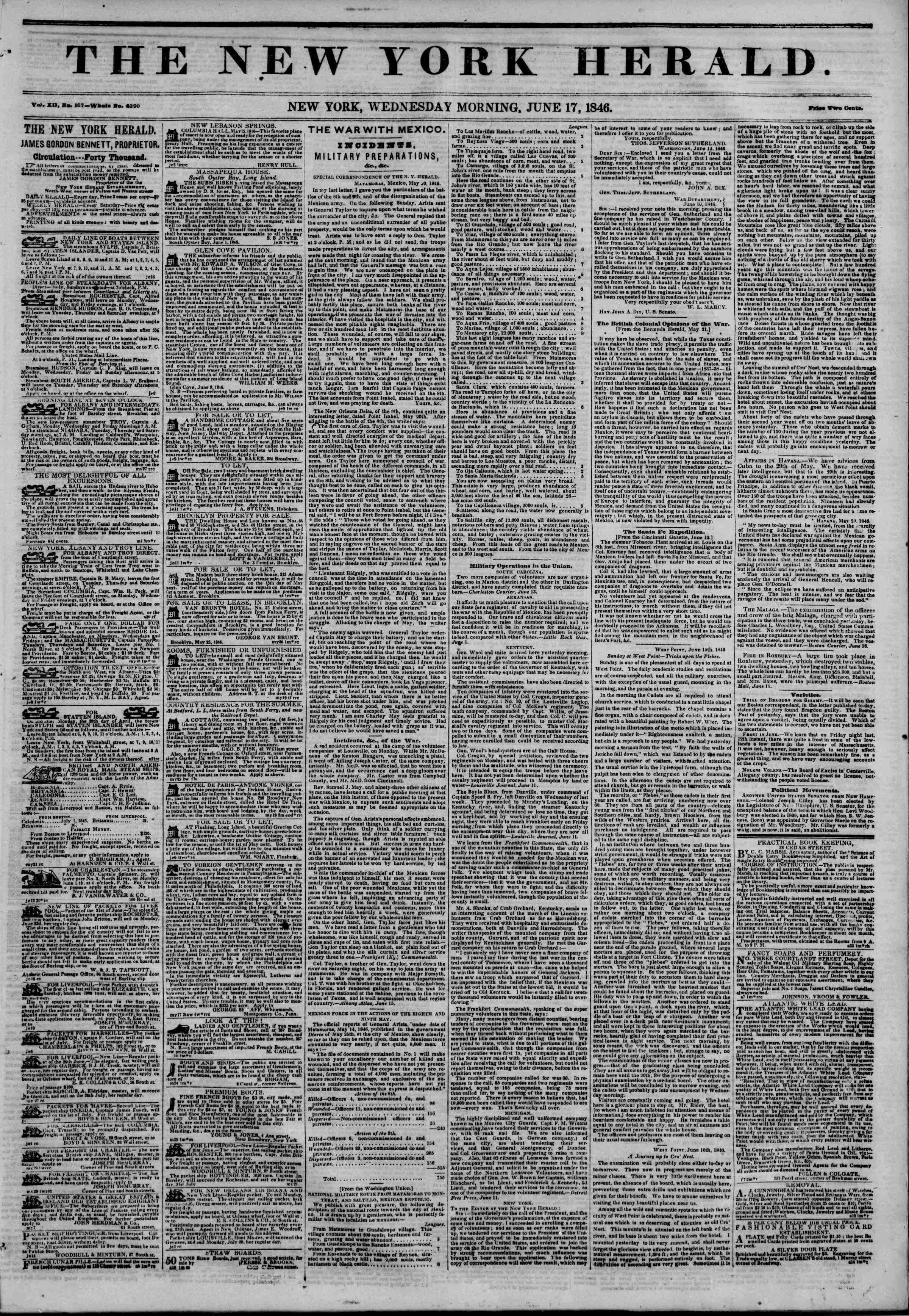 Newspaper of The New York Herald dated June 17, 1846 Page 1