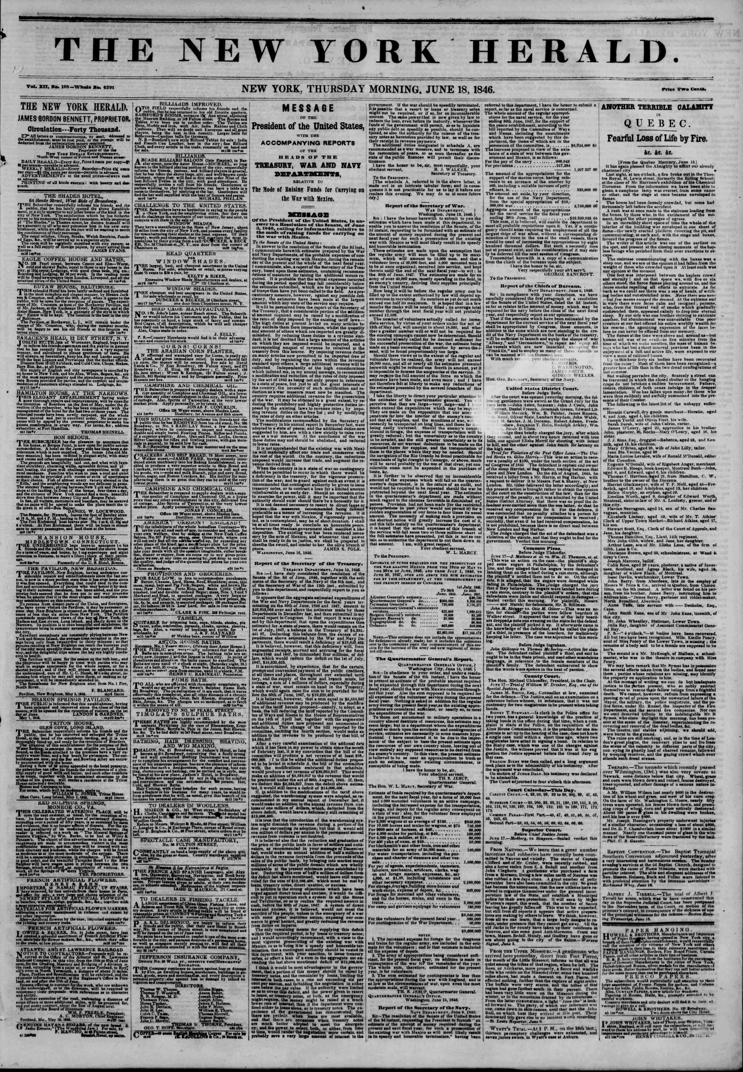 Newspaper of The New York Herald dated June 18, 1846 Page 1