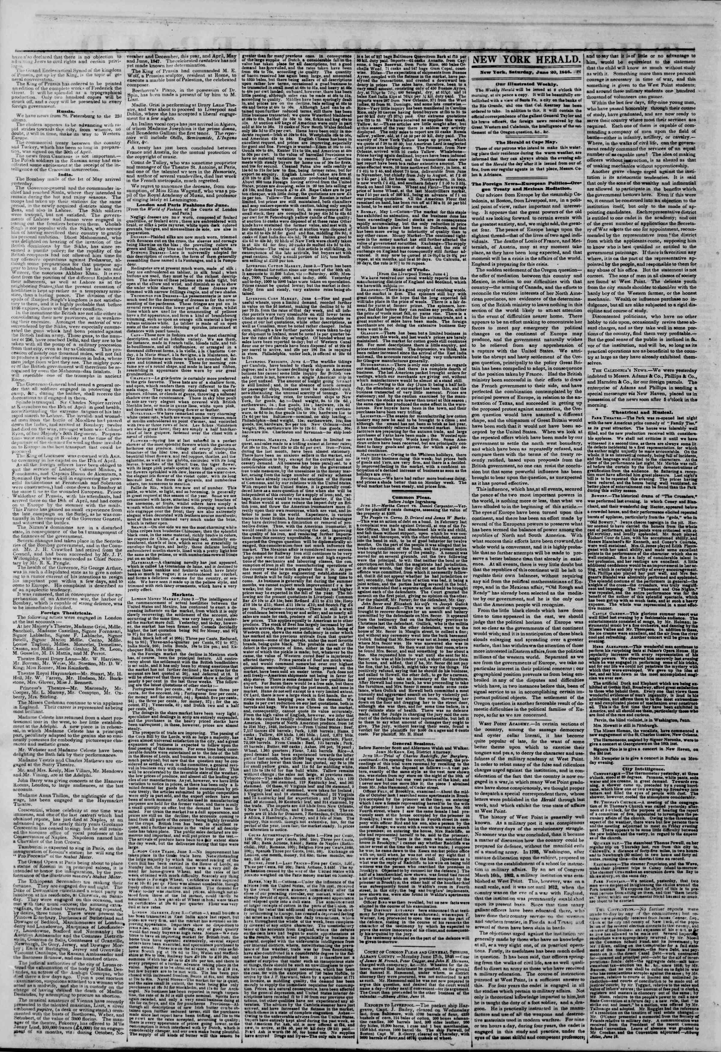 Newspaper of The New York Herald dated June 20, 1846 Page 2