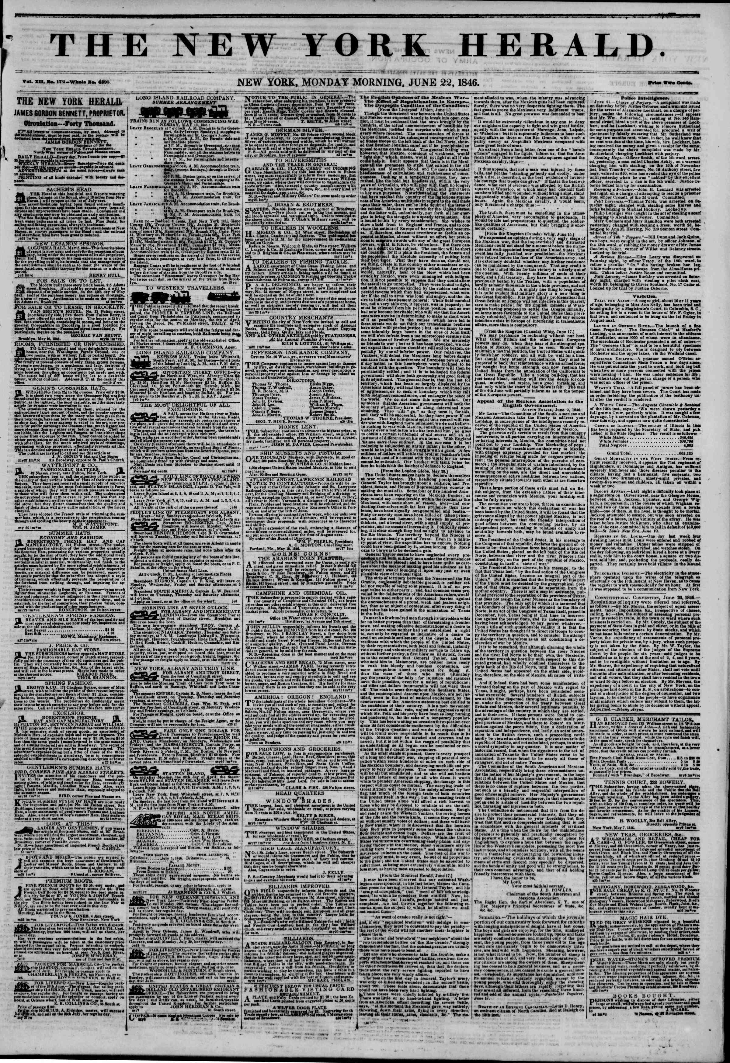 Newspaper of The New York Herald dated June 22, 1846 Page 1