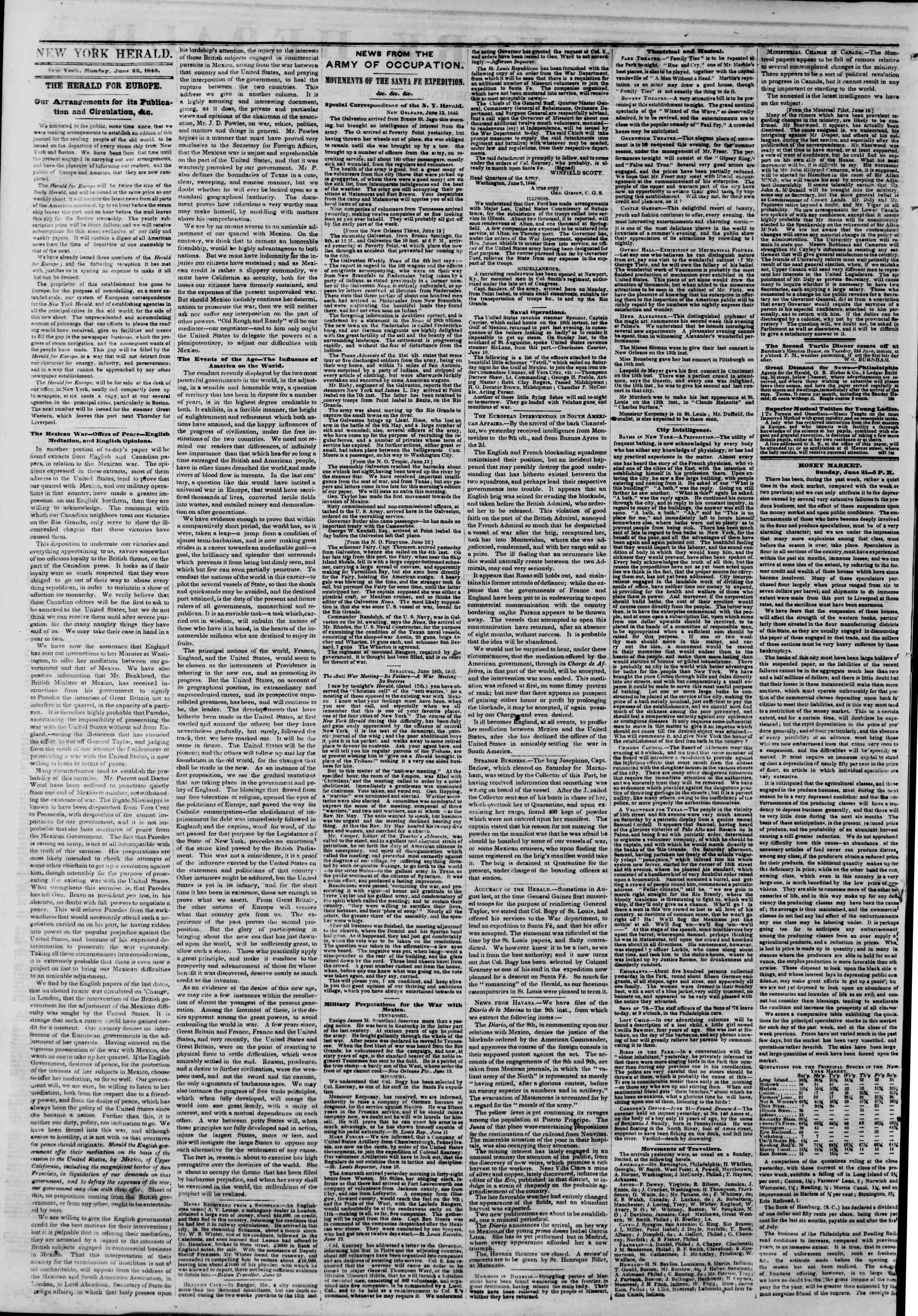 Newspaper of The New York Herald dated June 22, 1846 Page 2
