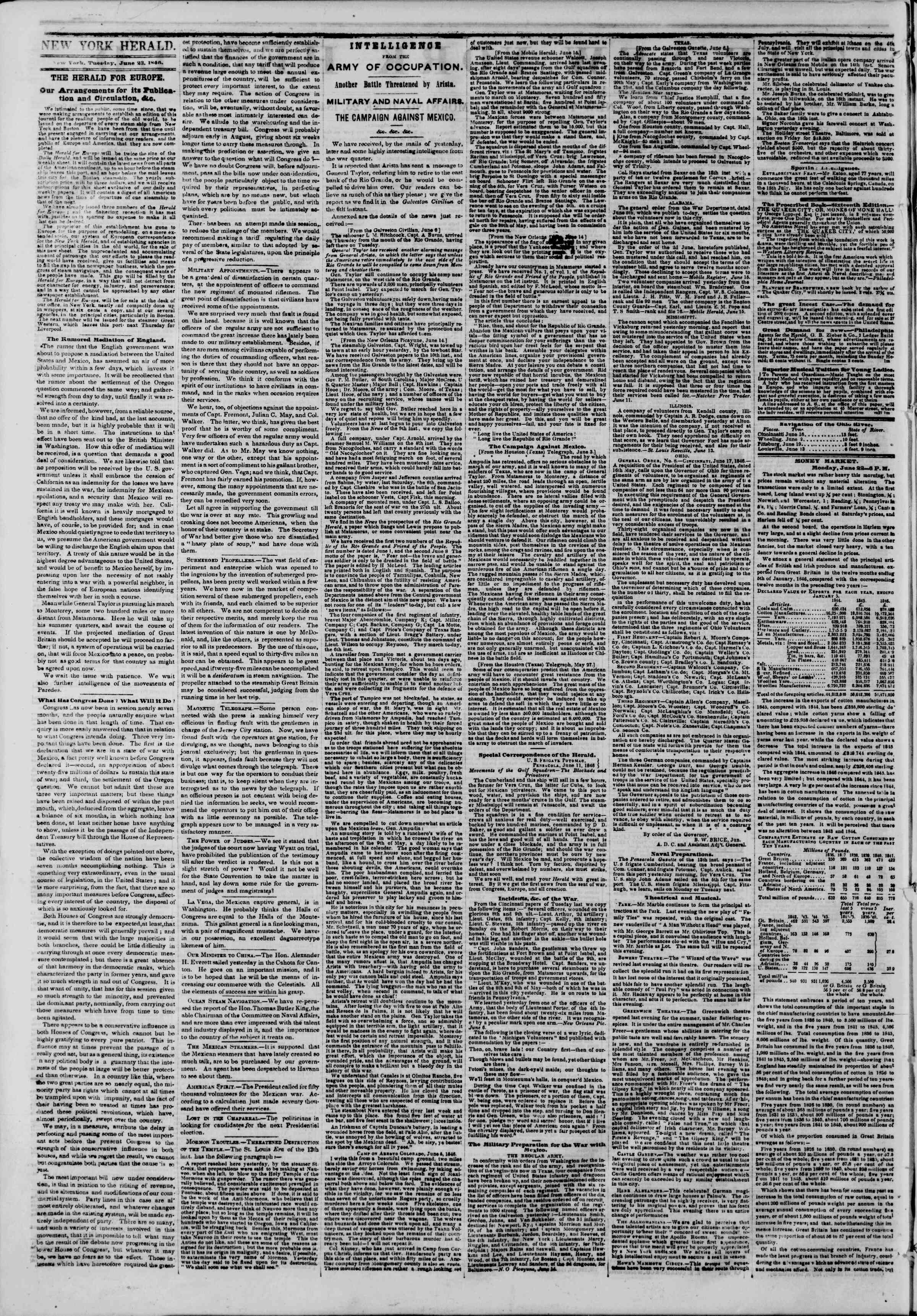 Newspaper of The New York Herald dated June 23, 1846 Page 2