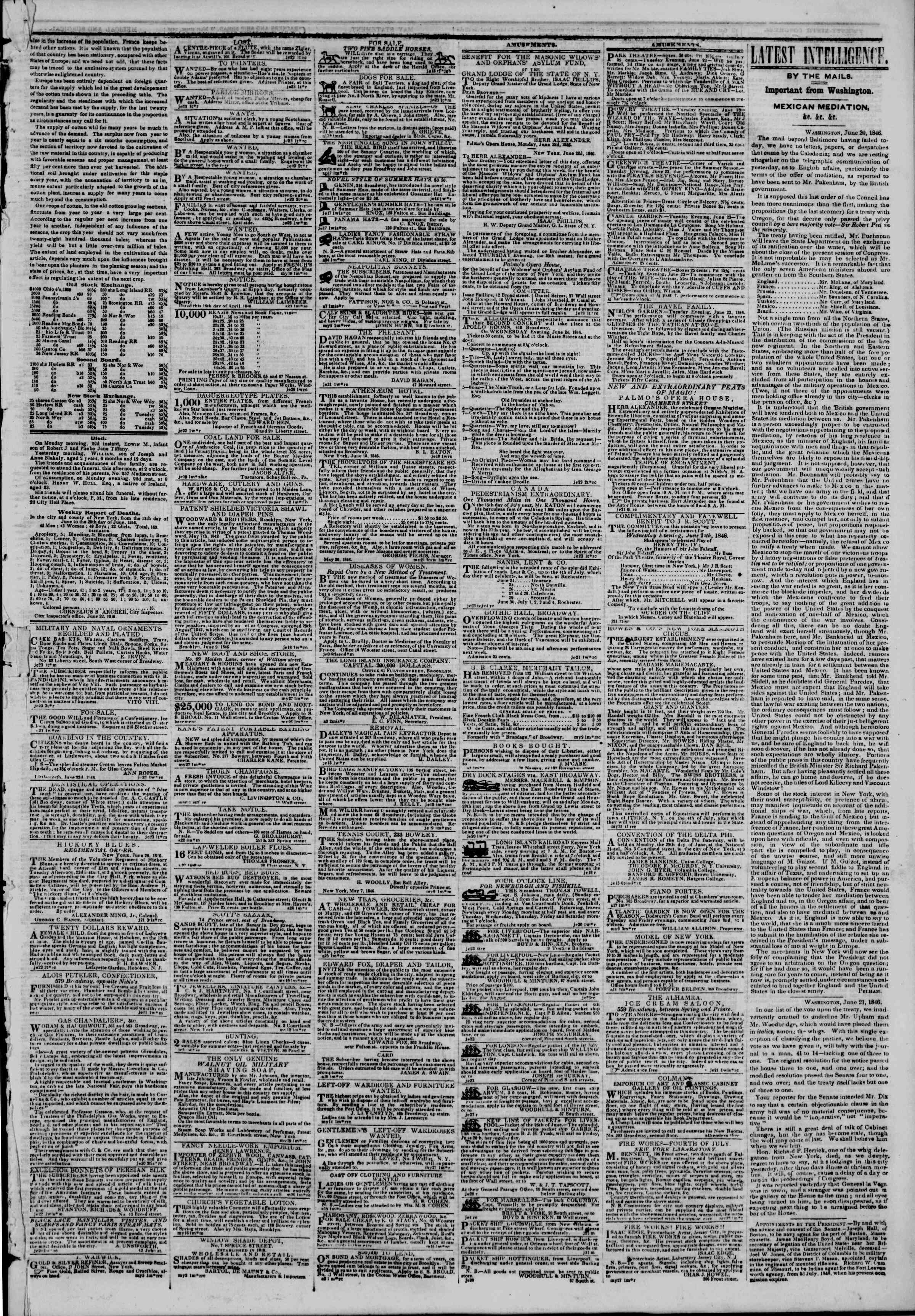 Newspaper of The New York Herald dated June 23, 1846 Page 3