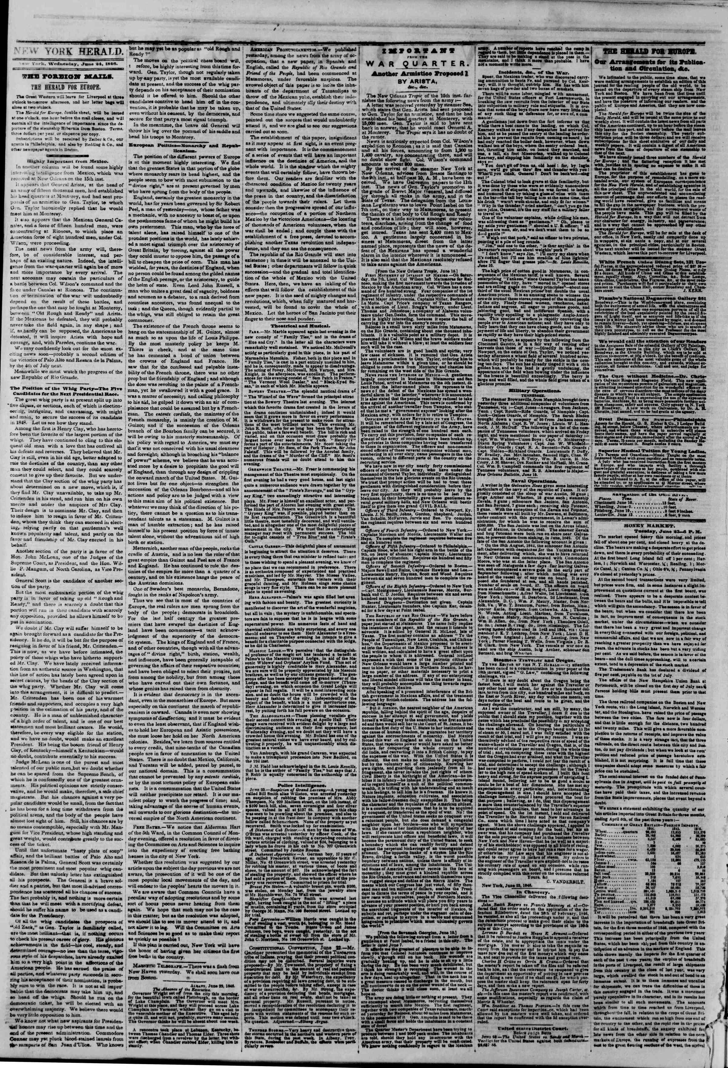Newspaper of The New York Herald dated June 24, 1846 Page 2