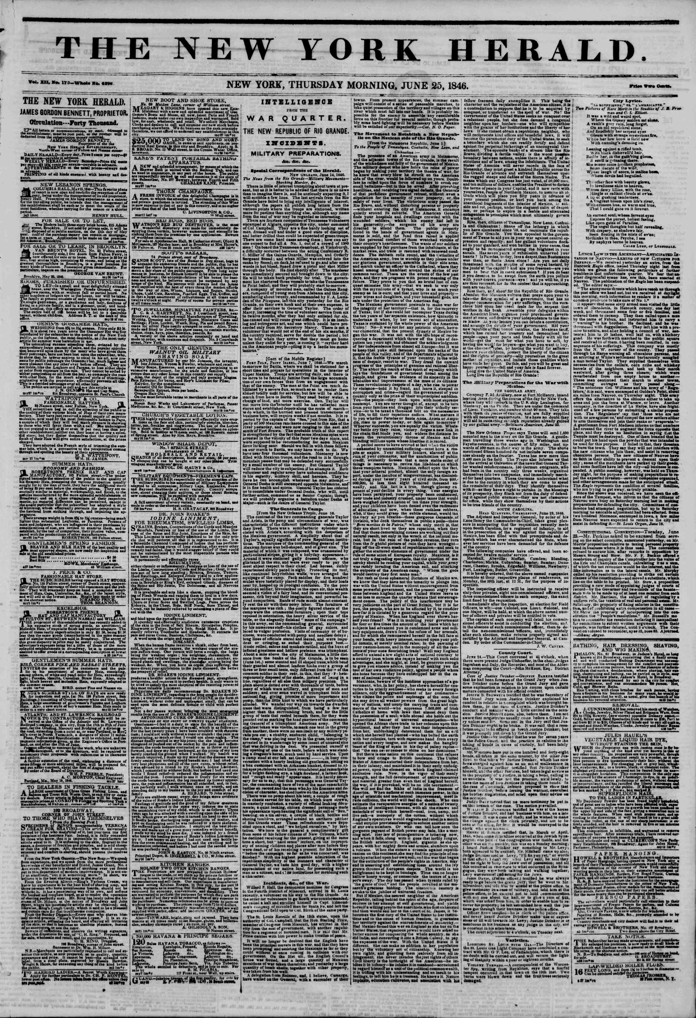 Newspaper of The New York Herald dated June 25, 1846 Page 1