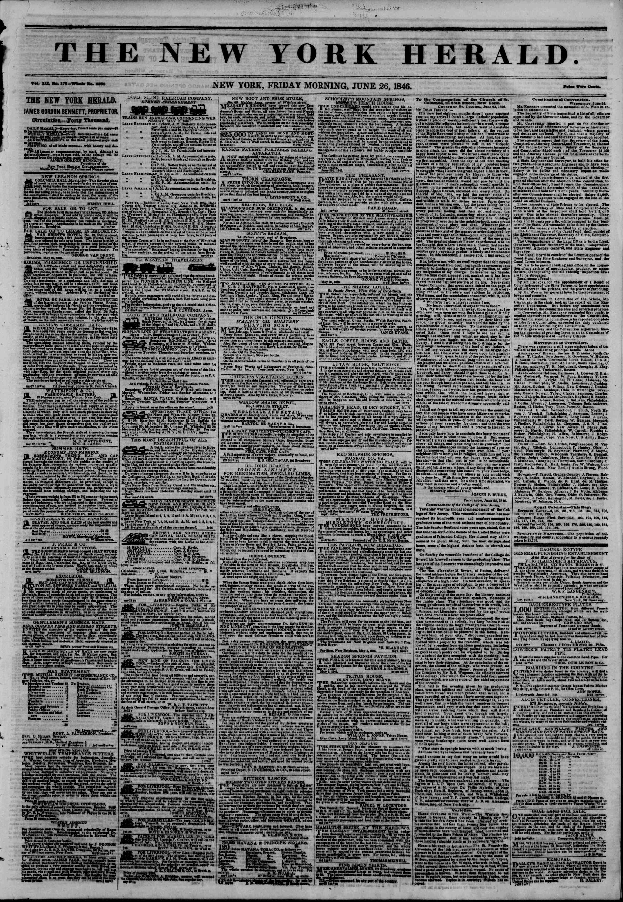 Newspaper of The New York Herald dated June 26, 1846 Page 1