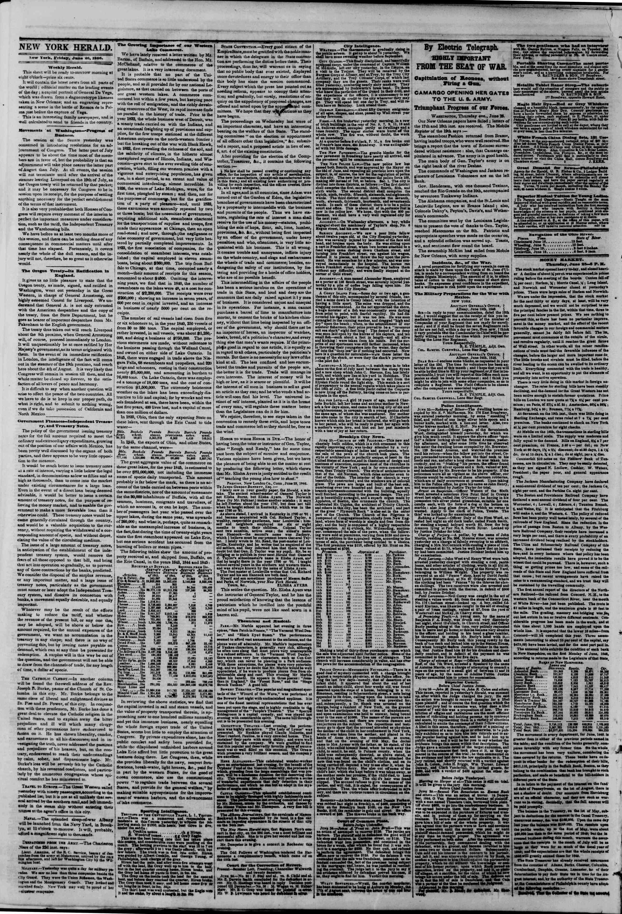 Newspaper of The New York Herald dated June 26, 1846 Page 2