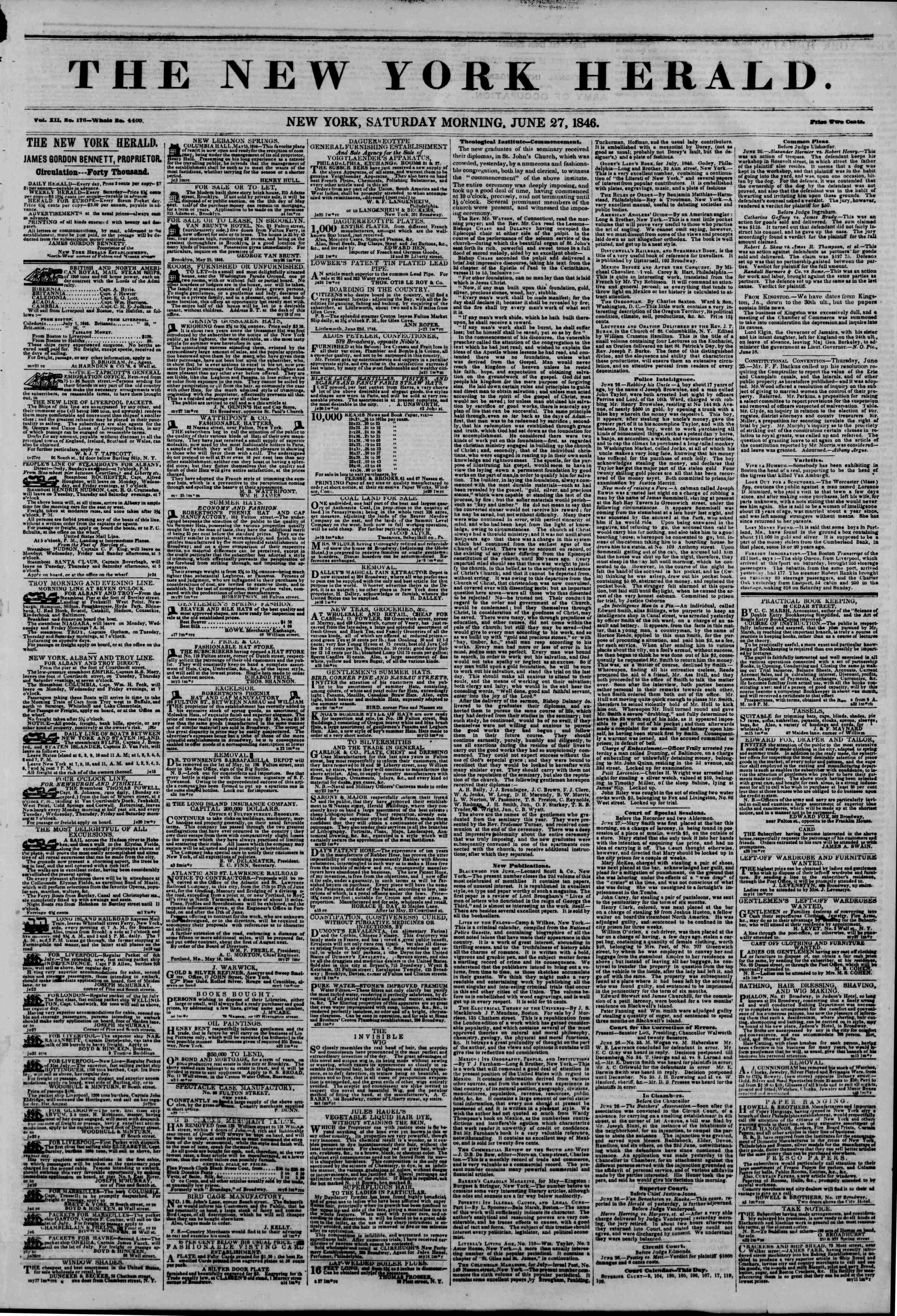 Newspaper of The New York Herald dated June 27, 1846 Page 1