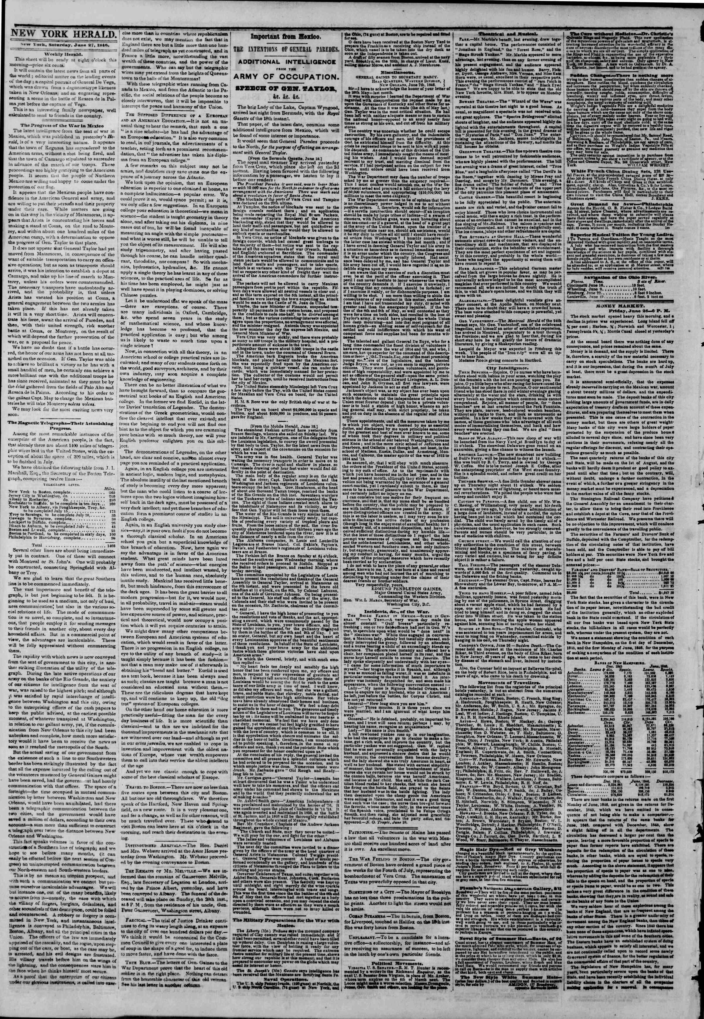 Newspaper of The New York Herald dated June 27, 1846 Page 2