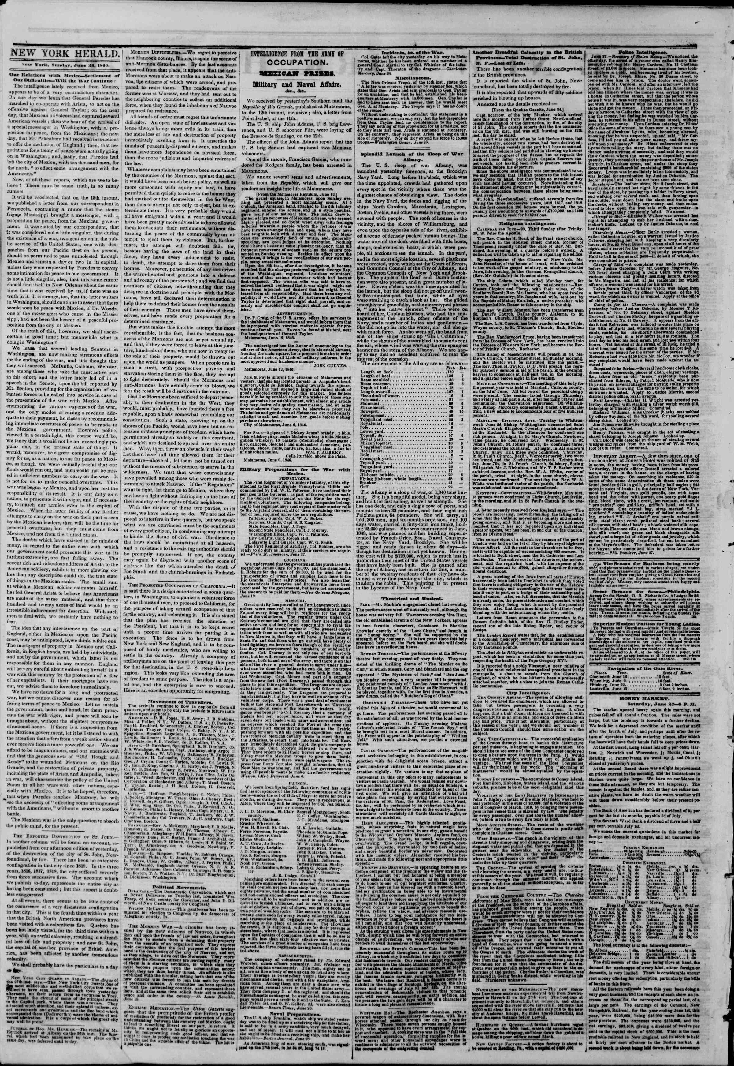 Newspaper of The New York Herald dated June 28, 1846 Page 2