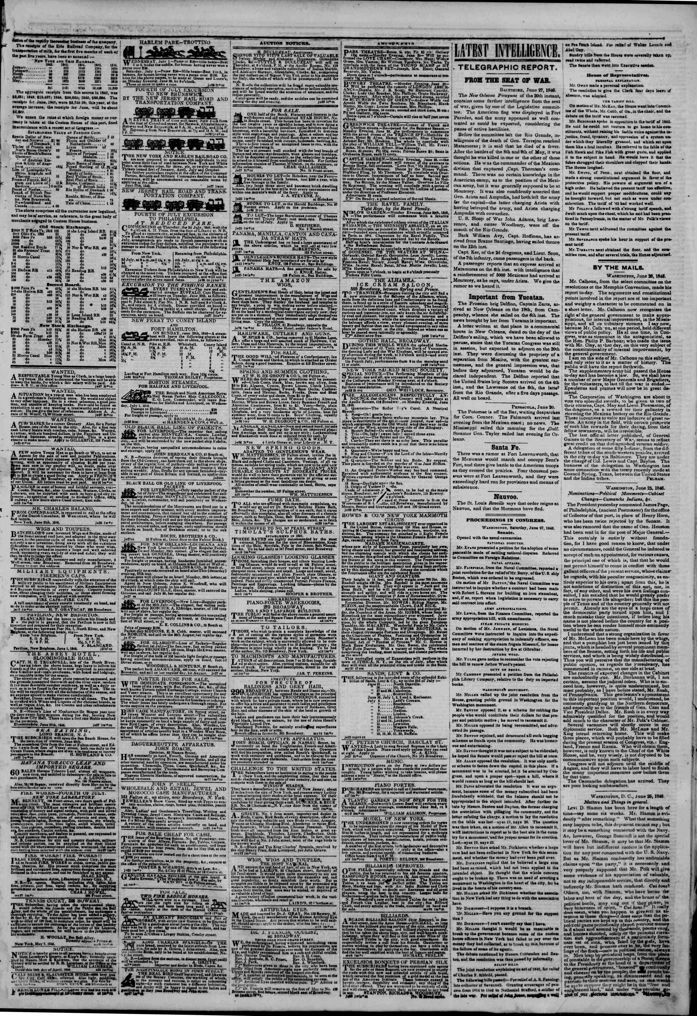 Newspaper of The New York Herald dated June 28, 1846 Page 3