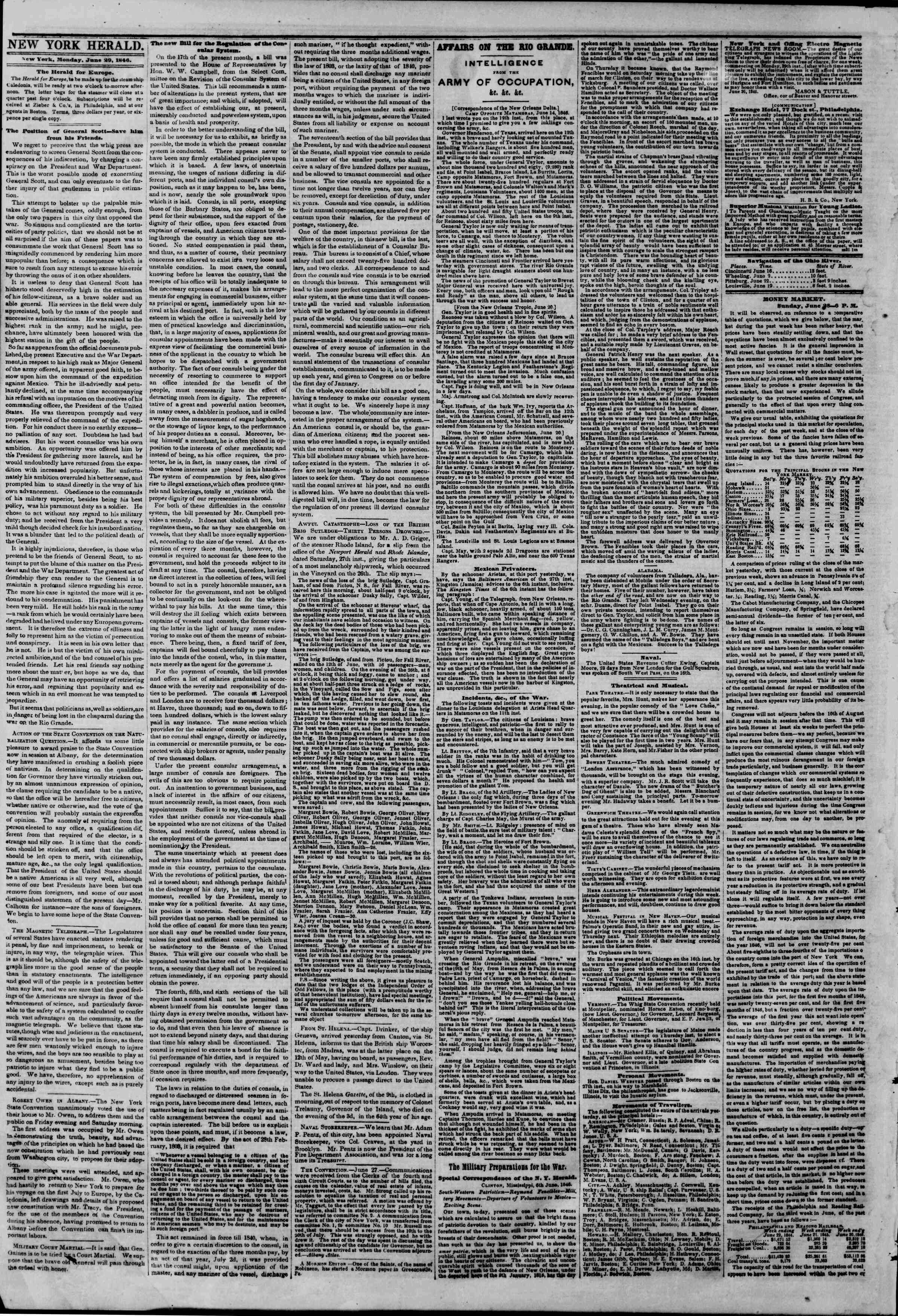 Newspaper of The New York Herald dated June 29, 1846 Page 2