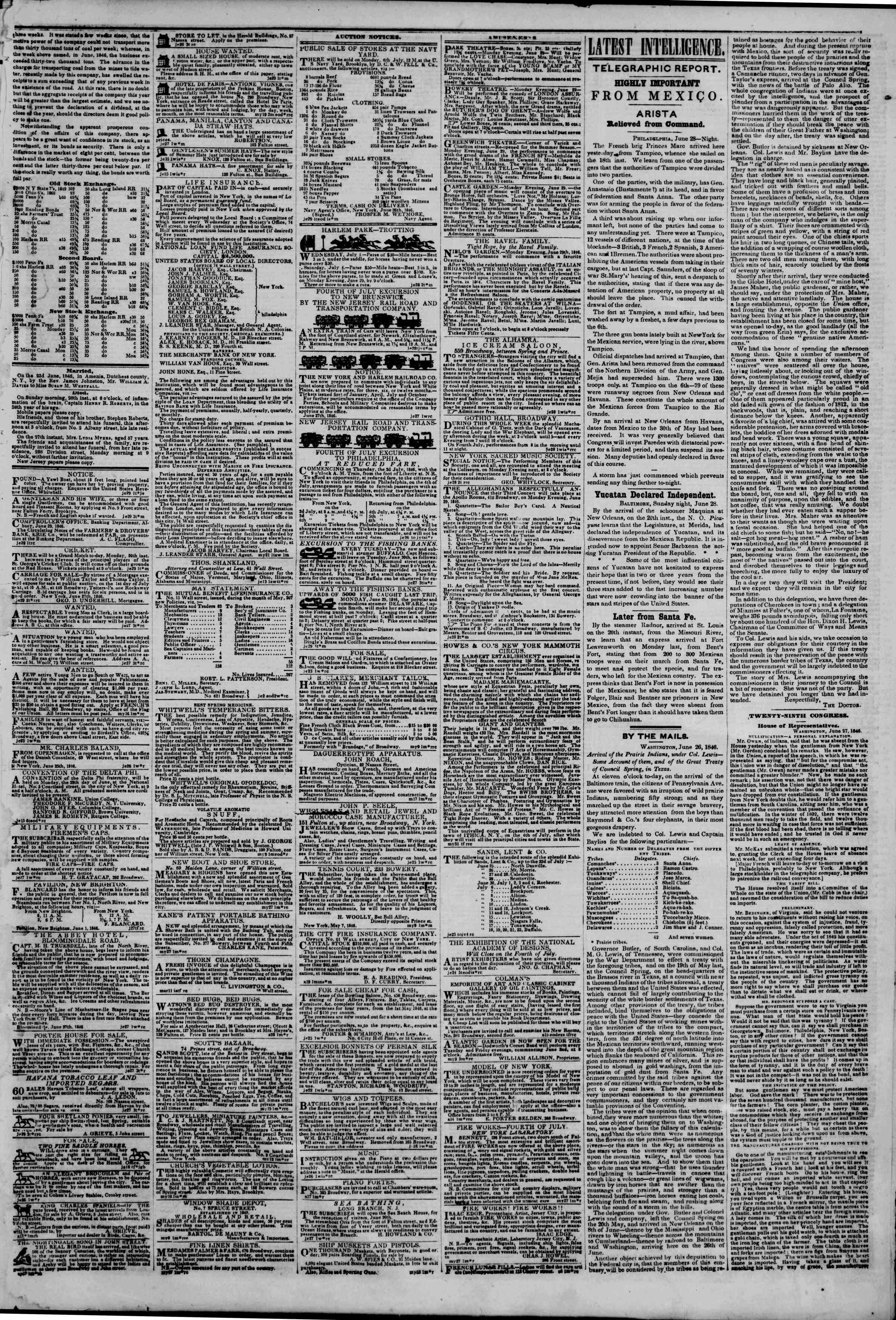 Newspaper of The New York Herald dated June 29, 1846 Page 3