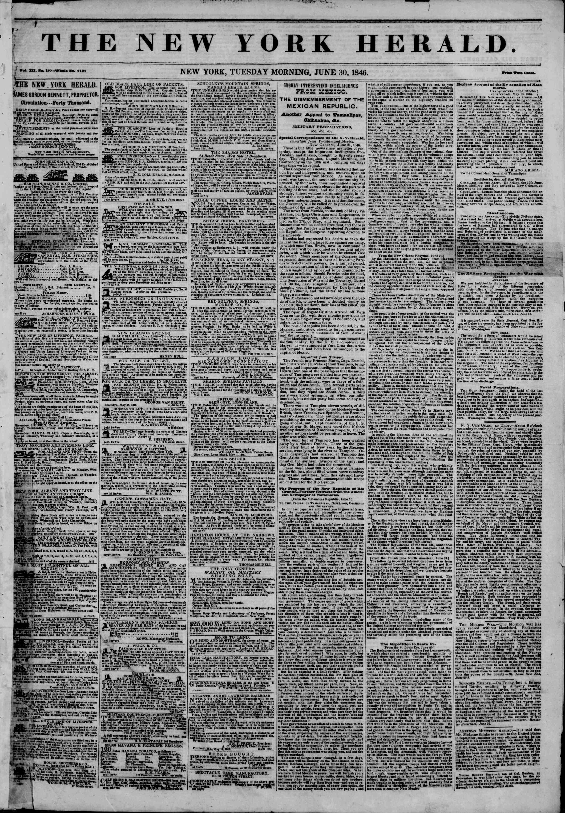 Newspaper of The New York Herald dated June 30, 1846 Page 1