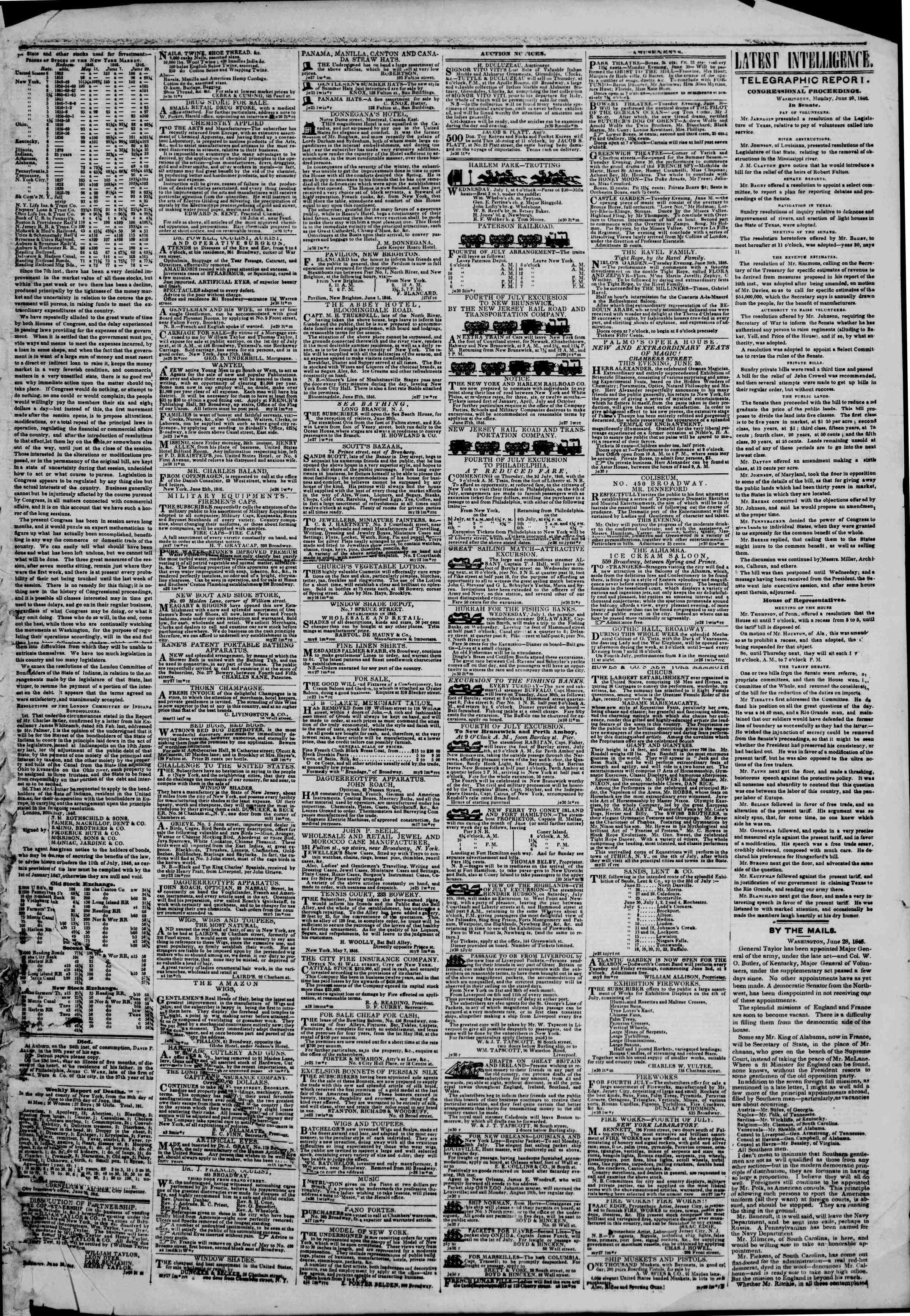 Newspaper of The New York Herald dated June 30, 1846 Page 3
