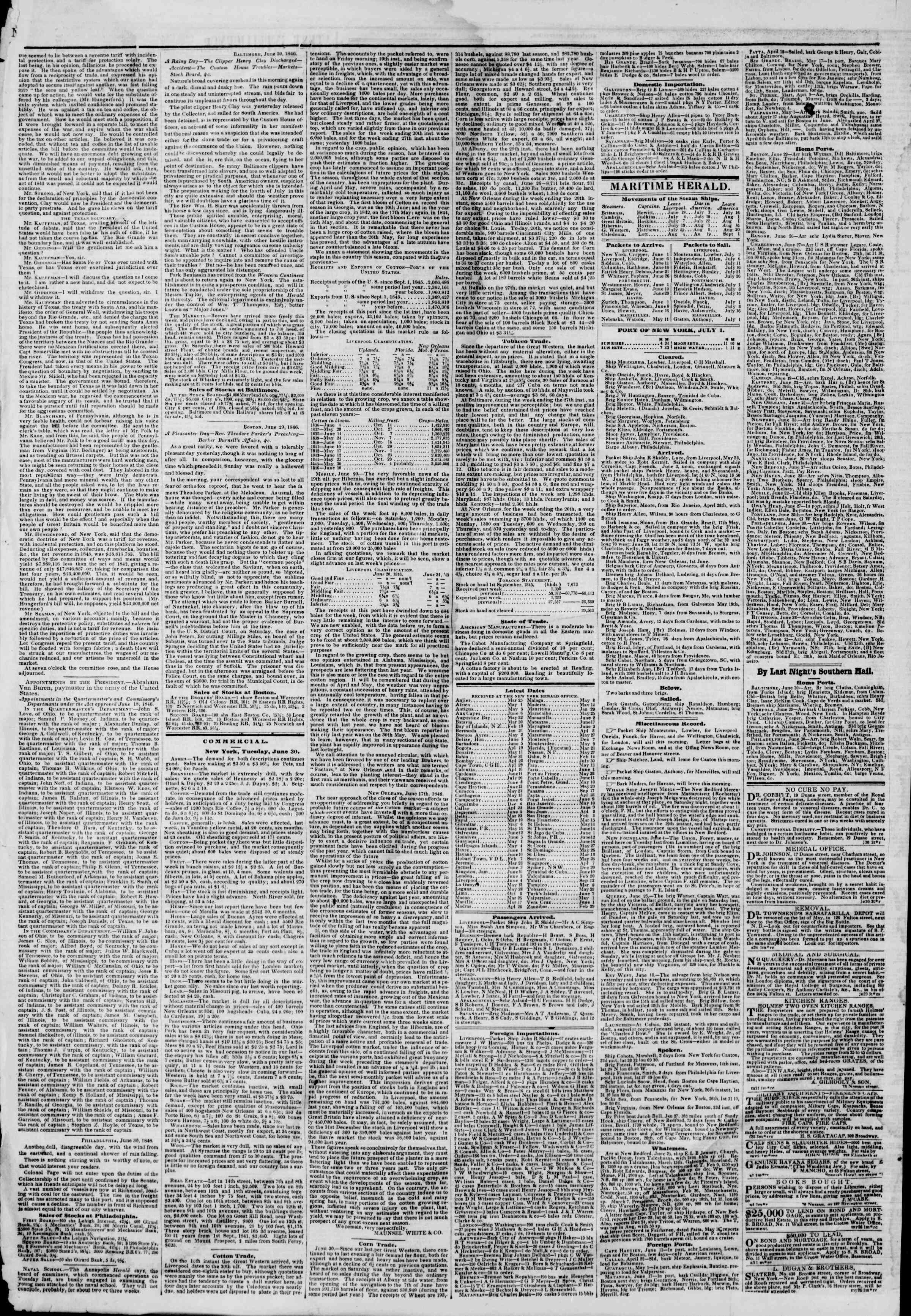 Newspaper of The New York Herald dated July 1, 1846 Page 4