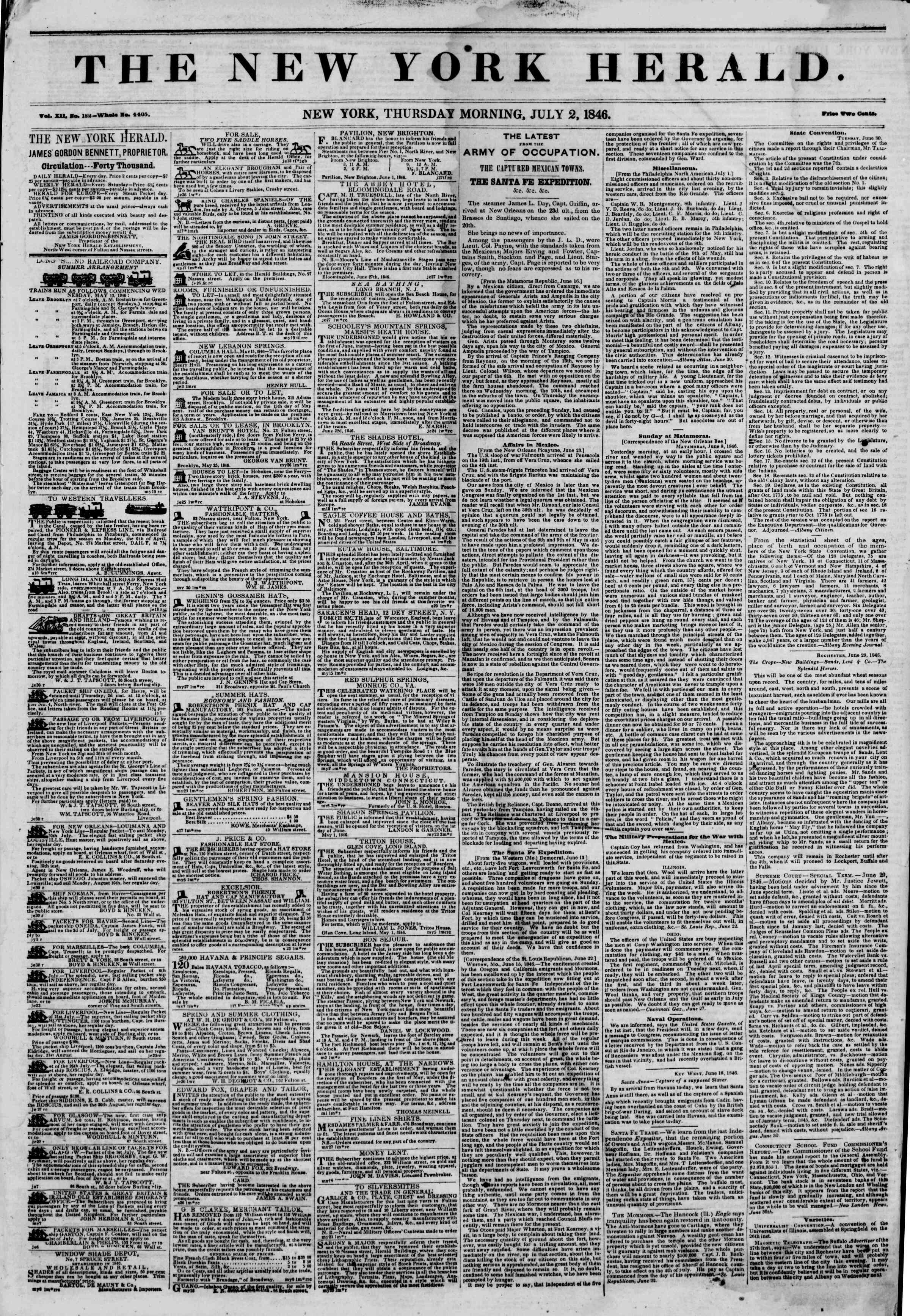 Newspaper of The New York Herald dated July 2, 1846 Page 1