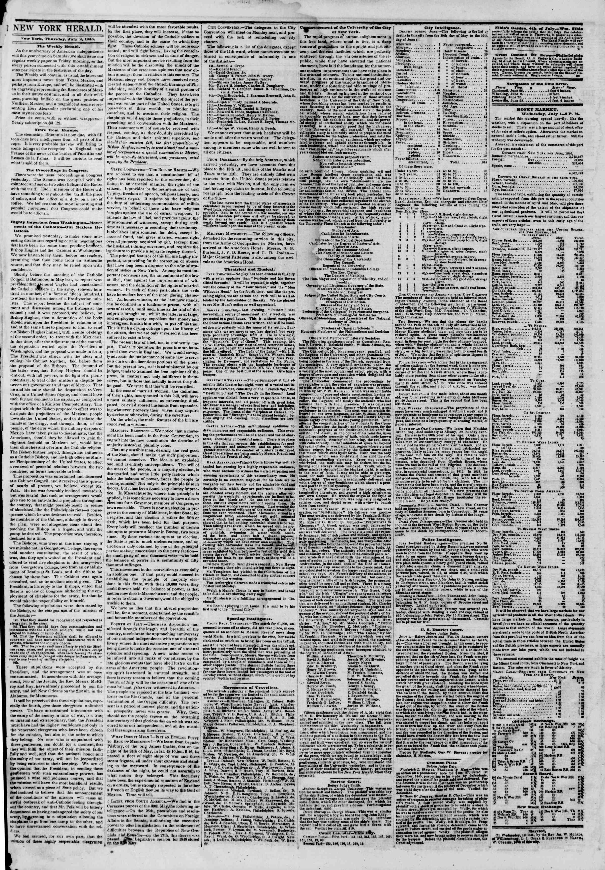 Newspaper of The New York Herald dated July 2, 1846 Page 2