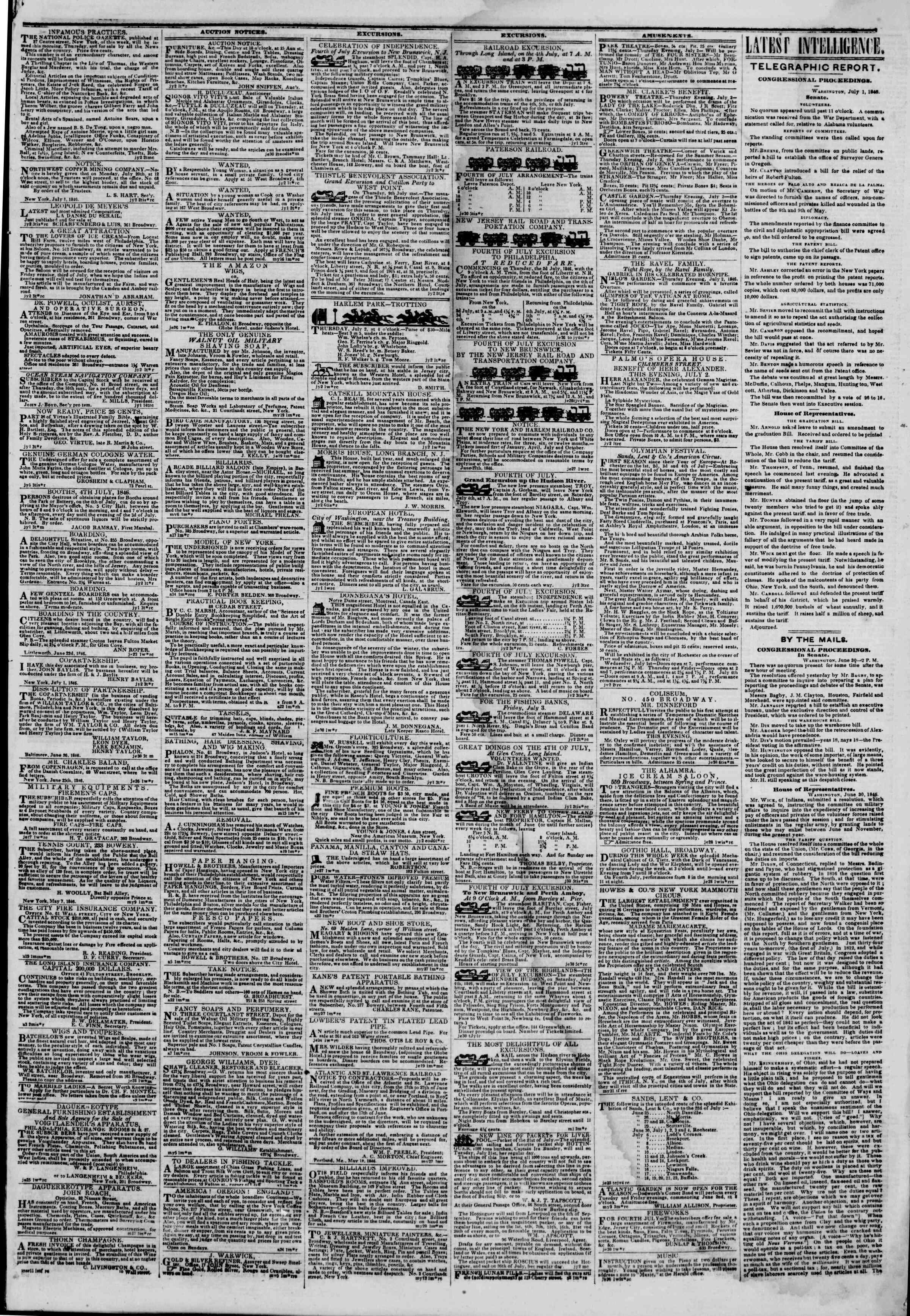 2 Temmuz 1846 tarihli The New York Herald Gazetesi Sayfa 3