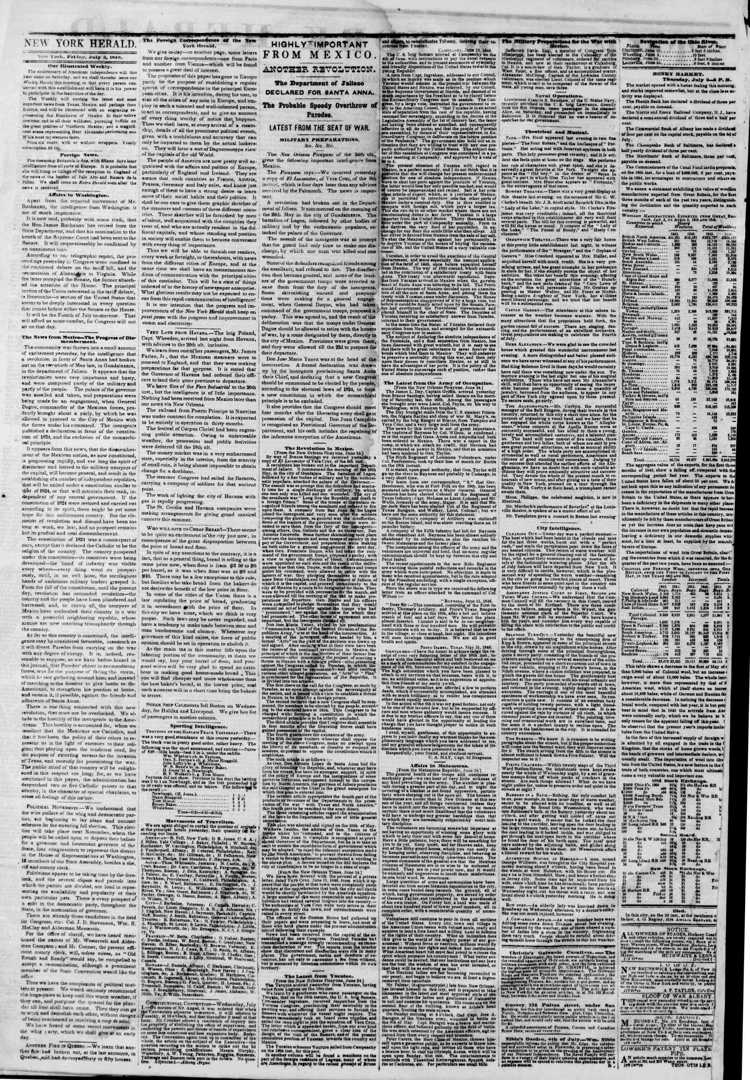 Newspaper of The New York Herald dated 3 Temmuz 1846 Page 2